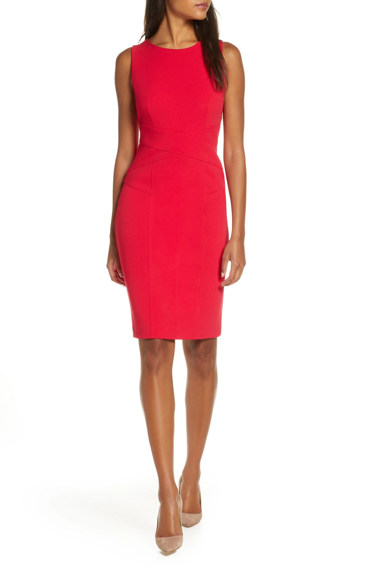 VINCE CAMUTO Sleeveless Crepe Sheath Dress, Main, color, HOT PINK