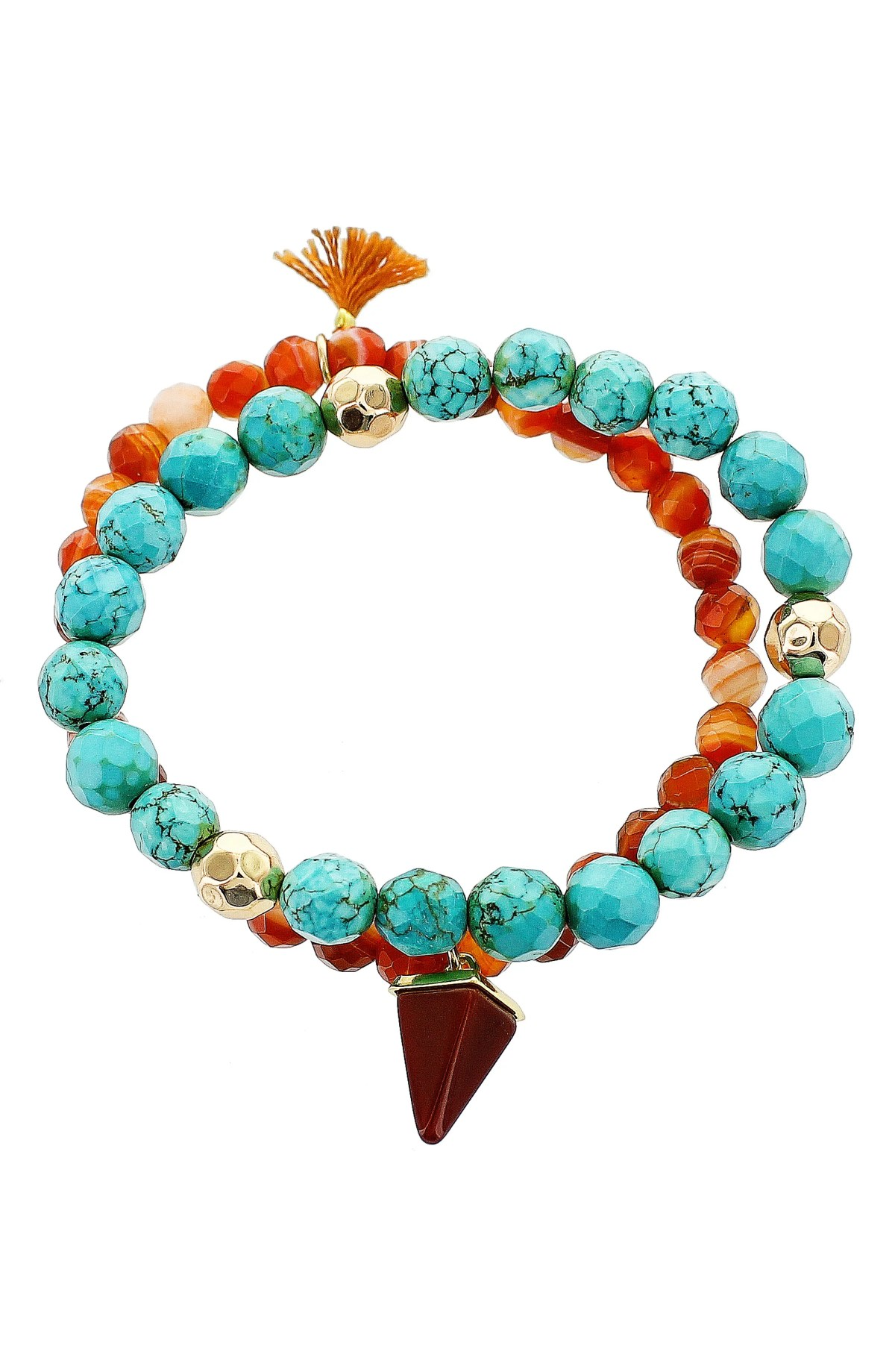 Set of 2 Beaded Stretch Bracelets, Main, color, ORANGE MULTI