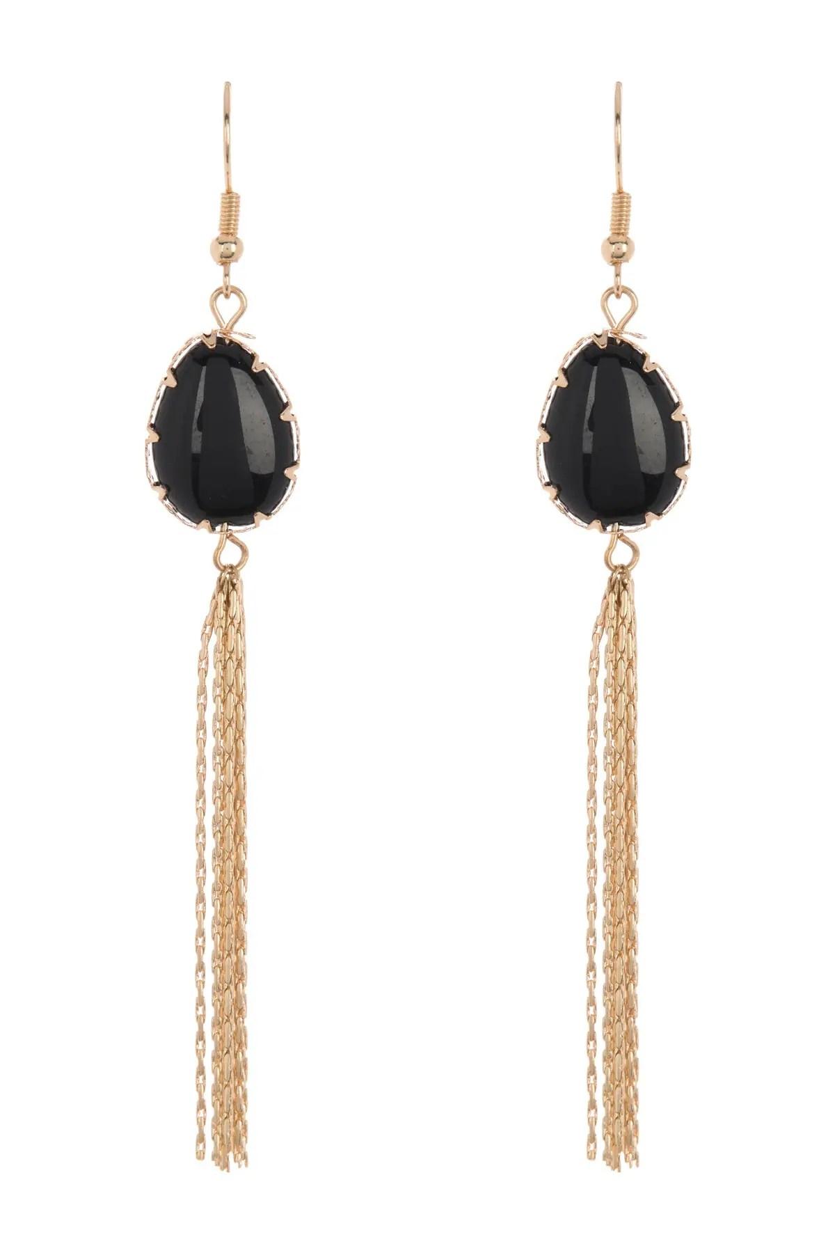 nordstrom rack onyx stone chain tassel linear drop earrings nordstrom rack