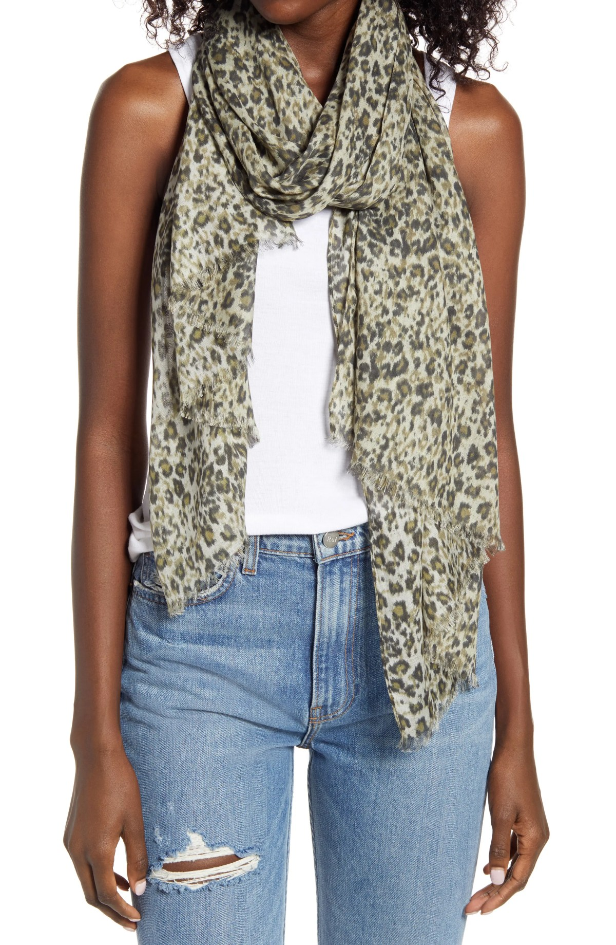 ALLSAINTS Patch Leopard Print Fringed Scarf, Main, color, CAMEL