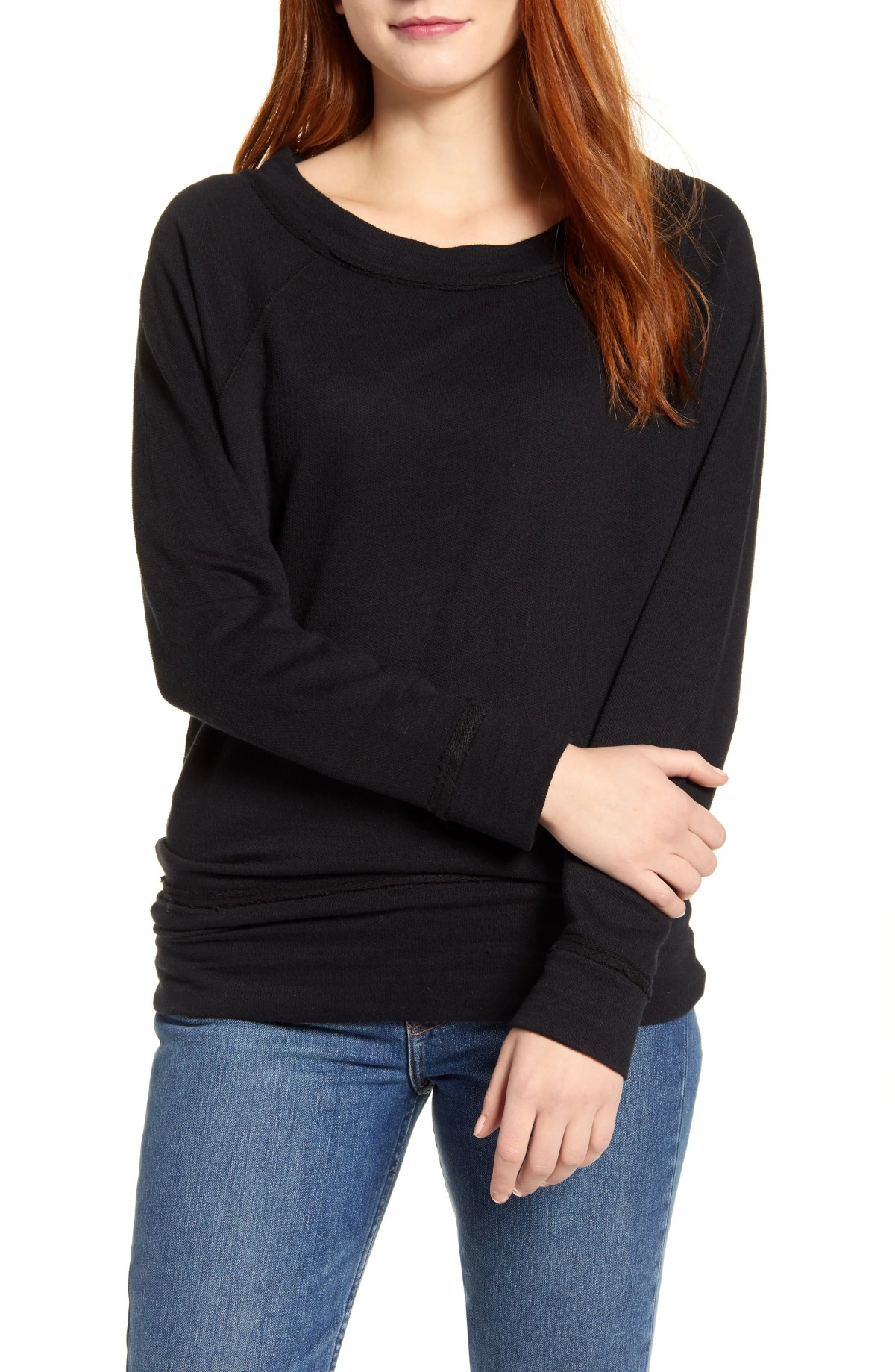 CASLON<SUP>®</SUP> Dolman Sleeve Cotton Blend Pullover, Main, color, BLACK