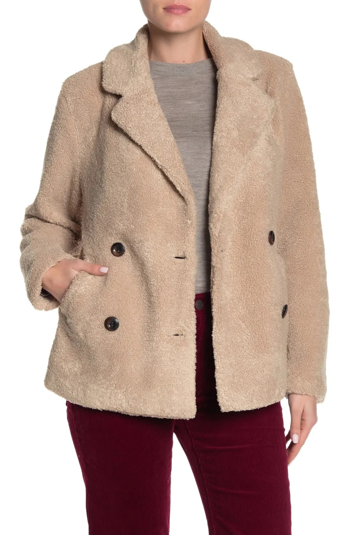 cotton on sammy faux shearling teddy coat nordstrom rack