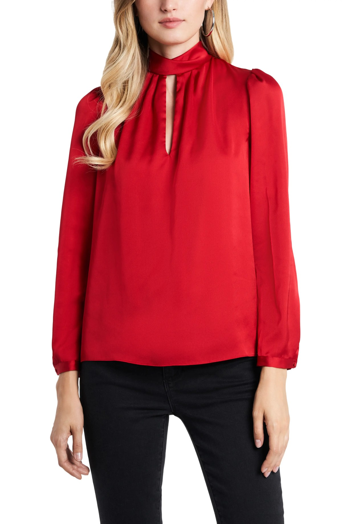 1.STATE 1. STATE Keyhole Charmeuse Blouse, Main, color, VIBRANT RED