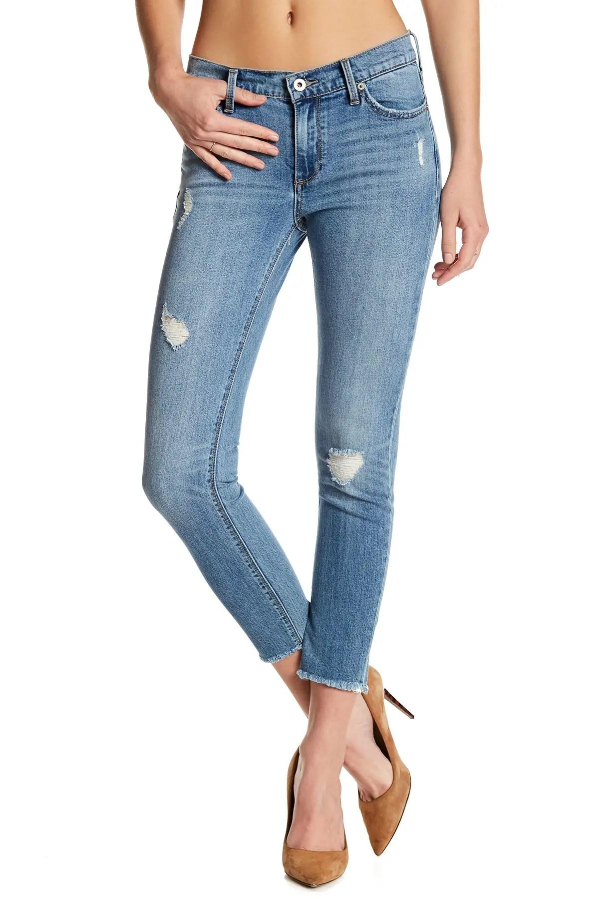 lucky brand brooke frayed hem ankle crop jeans nordstrom rack