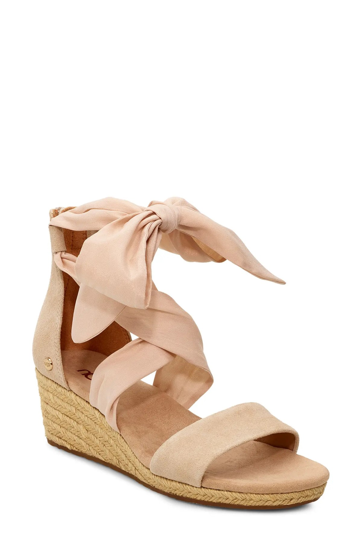 UGG<SUP>®</SUP> Trina Ribbon Tie Wedge Sandal, Main, color, NUDE LEATHER