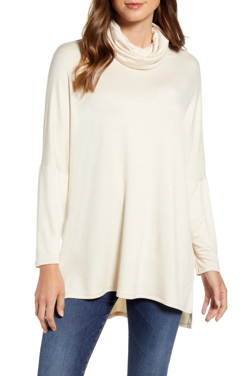 High/Low Tunic, Main, color, BEIGE OATMEAL LIGHT HEATHER