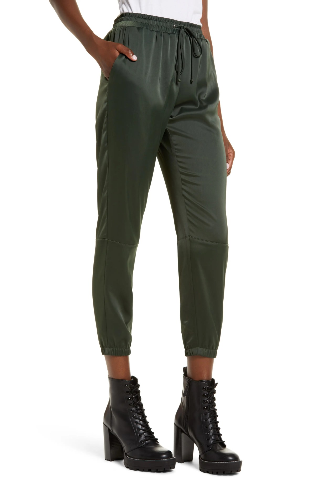SOCIALITE Stretch Satin Jogger Pants, Main, color, OLIVE