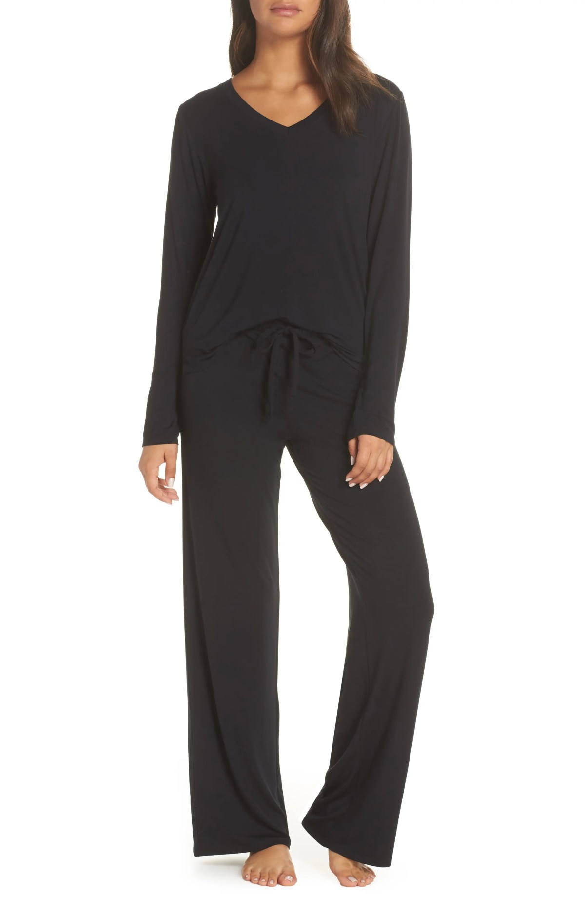 Breathe Stretch Modal Pants, Alternate, color, BLACK