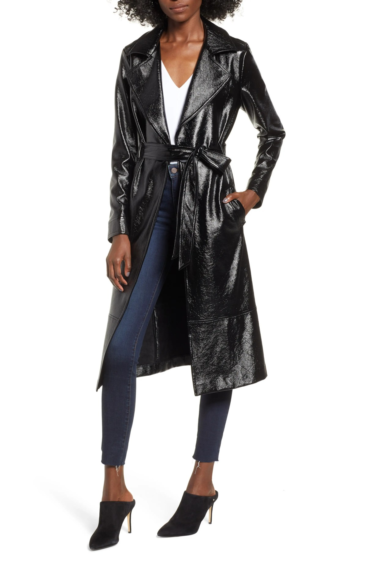 LEITH Faux Patent Leather Trench Coat, Main, color, BLACK