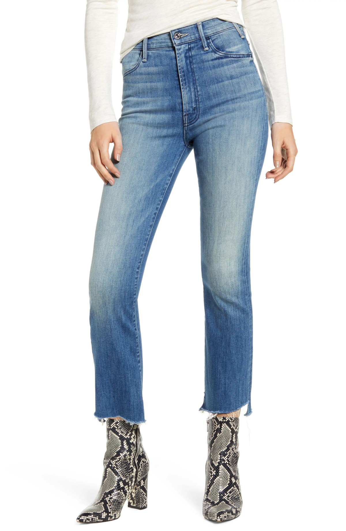 MOTHER The Hustler Two Step Fray High Waist Ankle Bootcut Jeans, Main, color, THUNDERSTRUCK