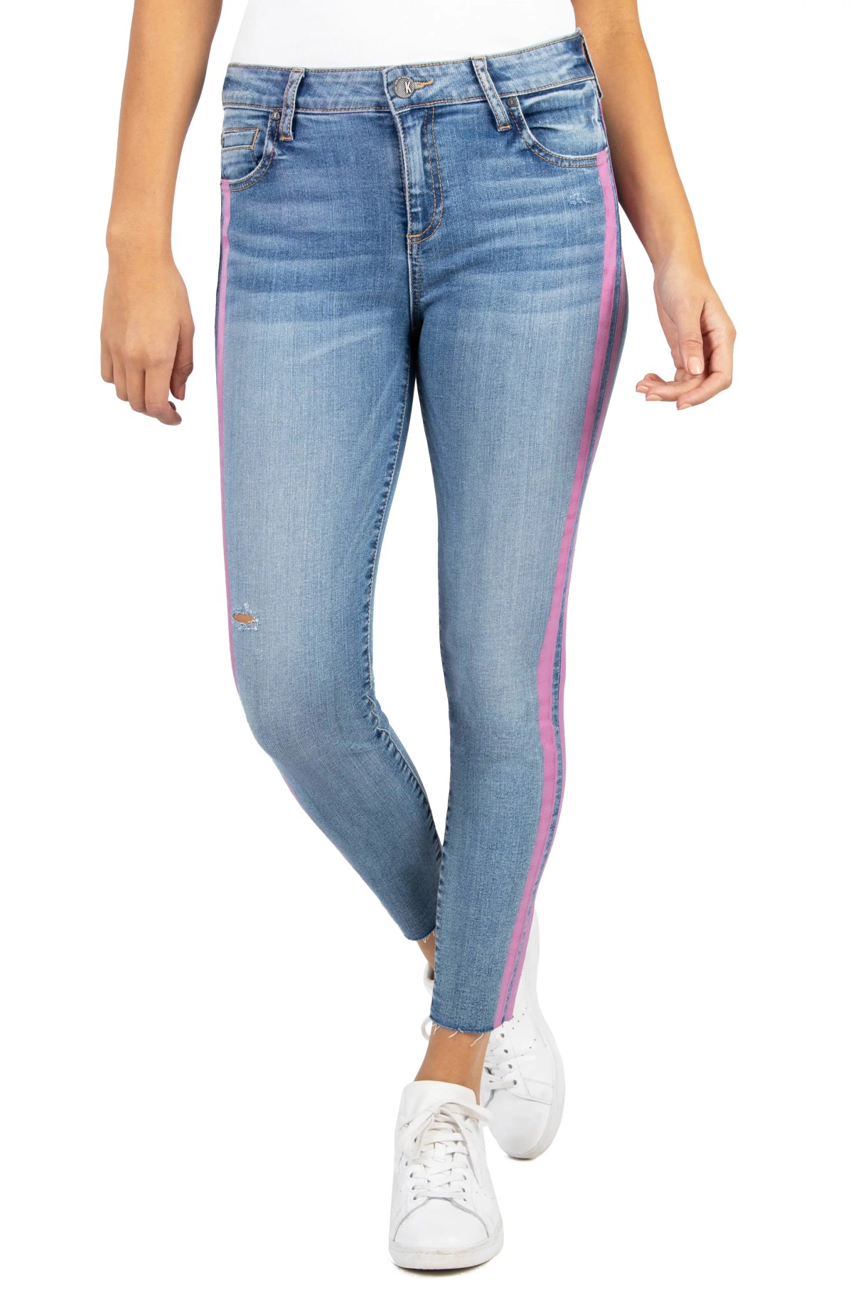 KUT FROM THE KLOTH Connie High Waist Side Stripe Ankle Skinny Jeans, Main, color, WISHING