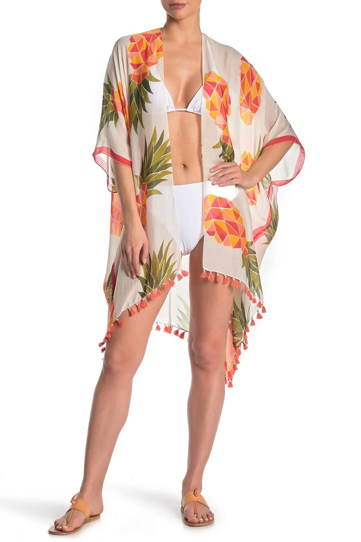 pool to party playful pineapple cover up kimono nordstrom rack