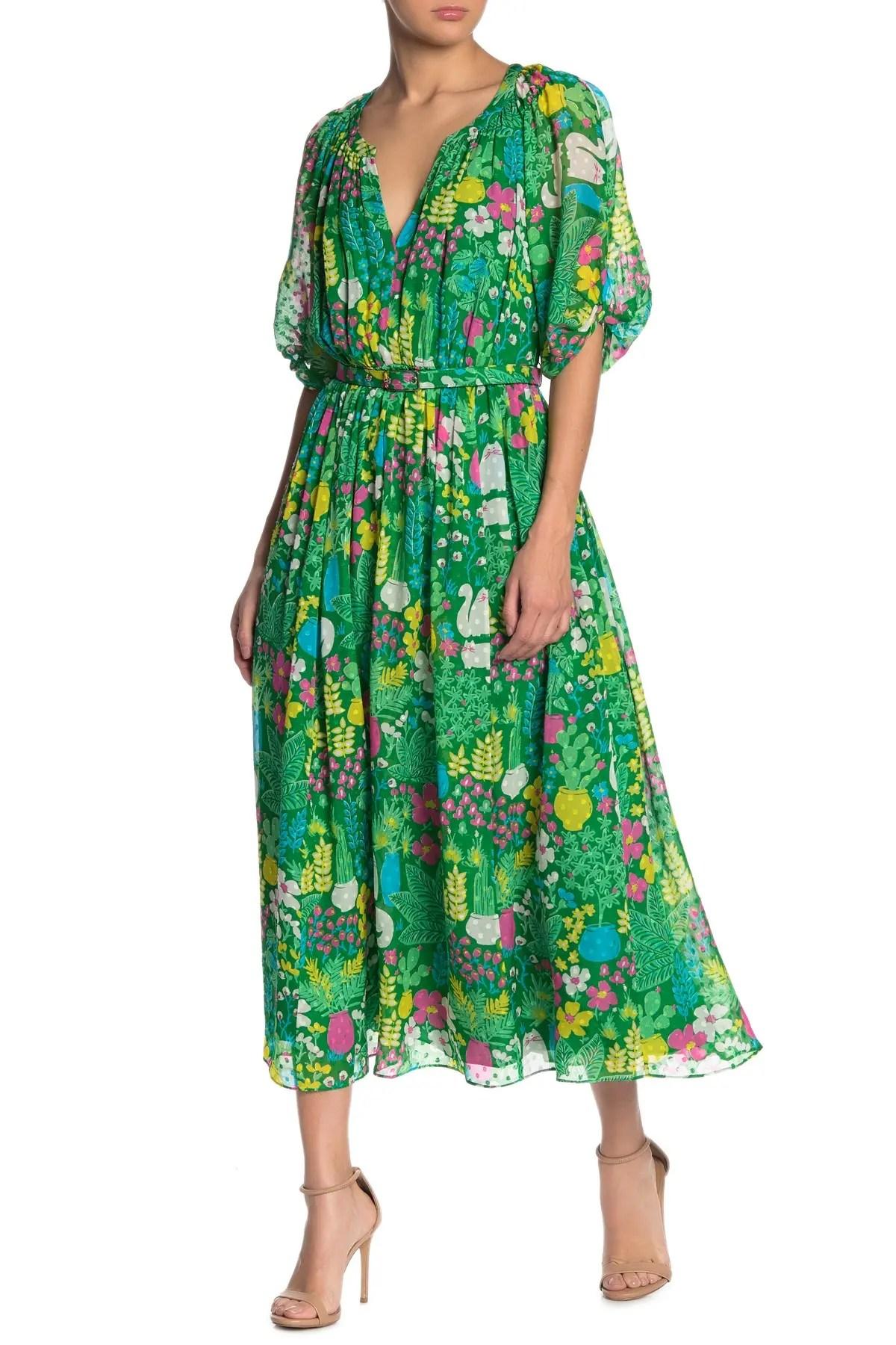 kate spade new york garden posy floral silk midi dress nordstrom rack