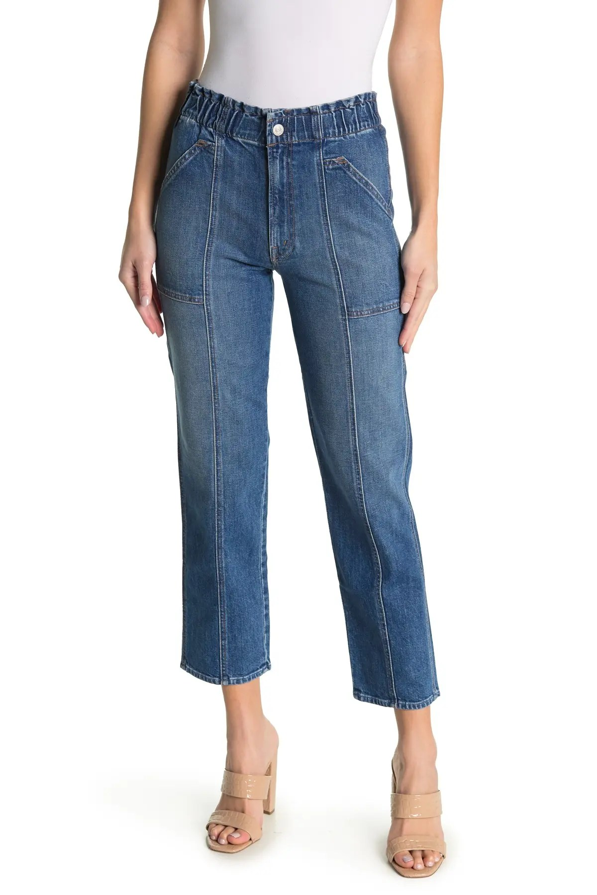 mother the springy ankle crop straight jeans nordstrom rack