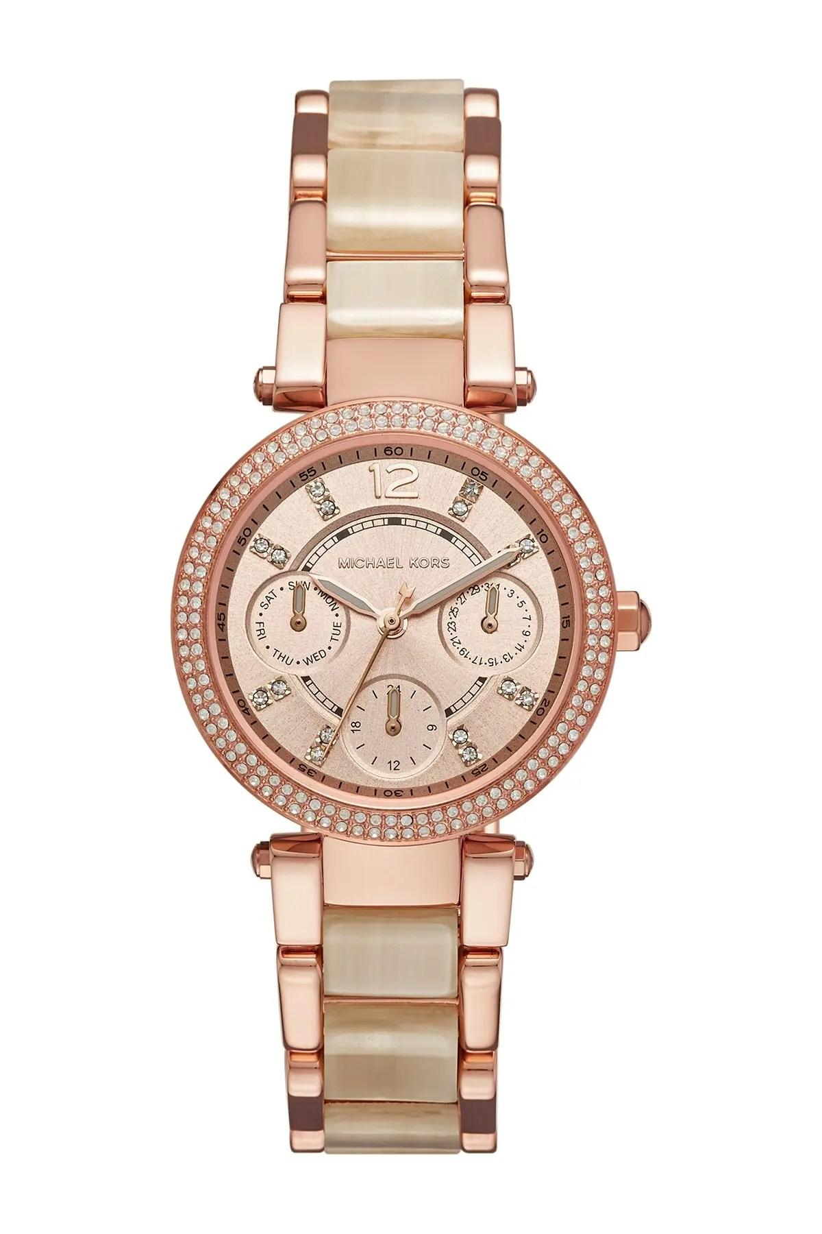 michael michael kors women s parker chronograph crystal accented bracelet watch 33mm nordstrom rack