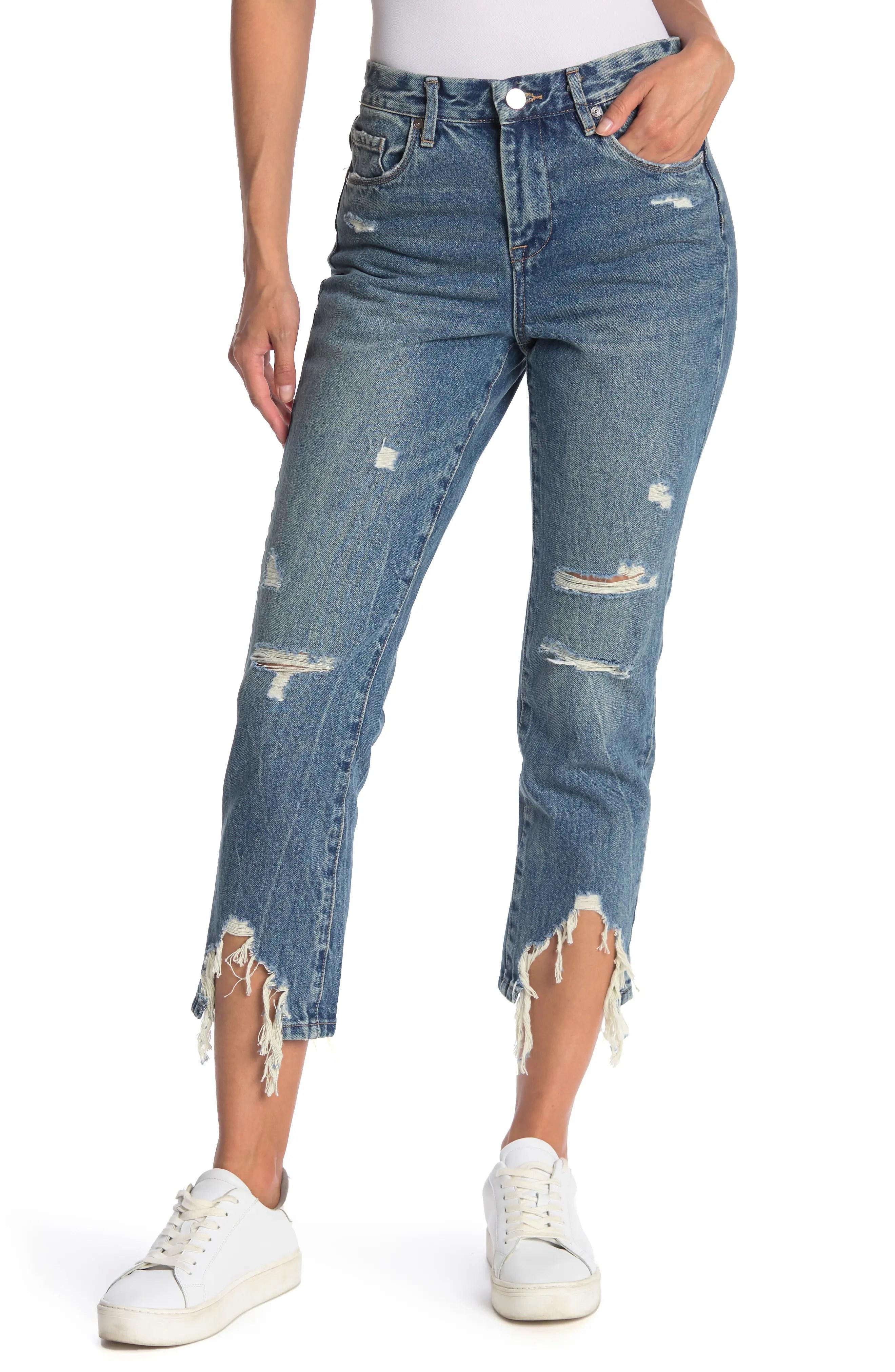 blanknyc denim distressed crop straight leg jeans nordstrom rack