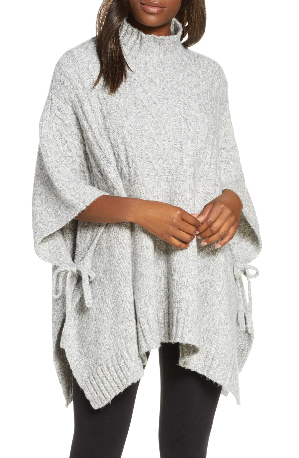 UGG<SUP>®</SUP> Joanna Funnel Neck Poncho, Main, color, LIGHT GREY HEATHER