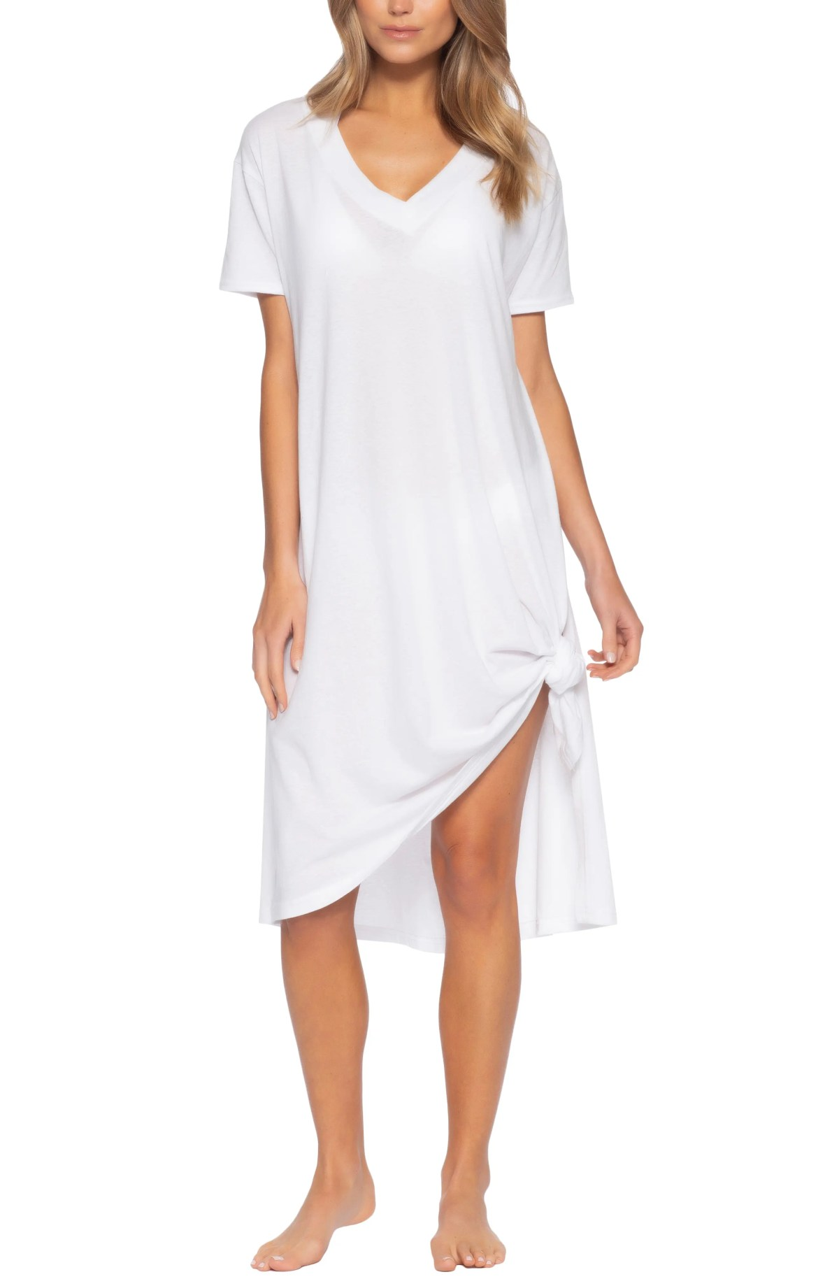 BECCA Beach Date Cover-Up T-Shirt Dress, Main, color, WHITE