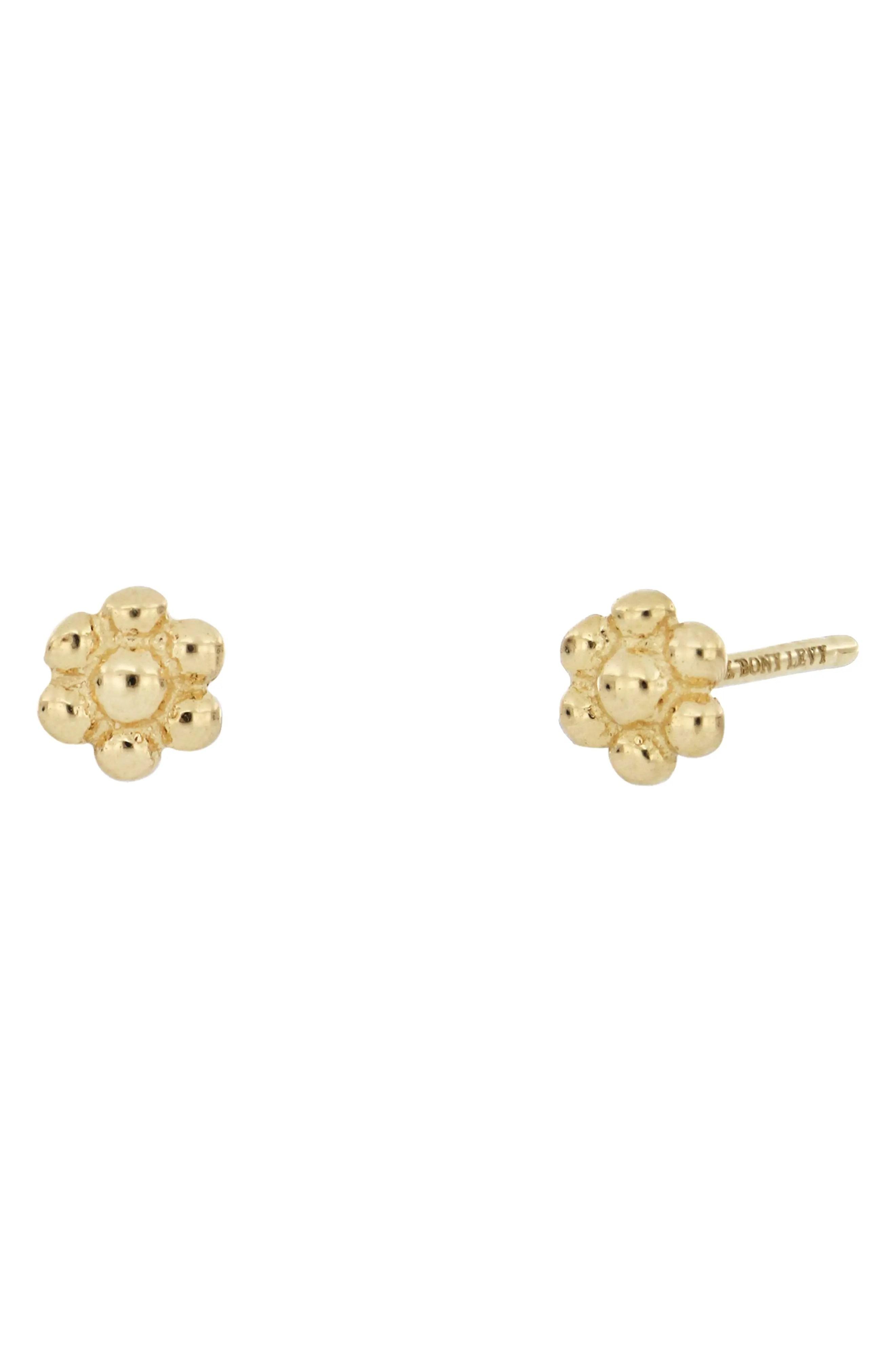 bony levy 14k yellow gold flower stud earrings nordstrom rack