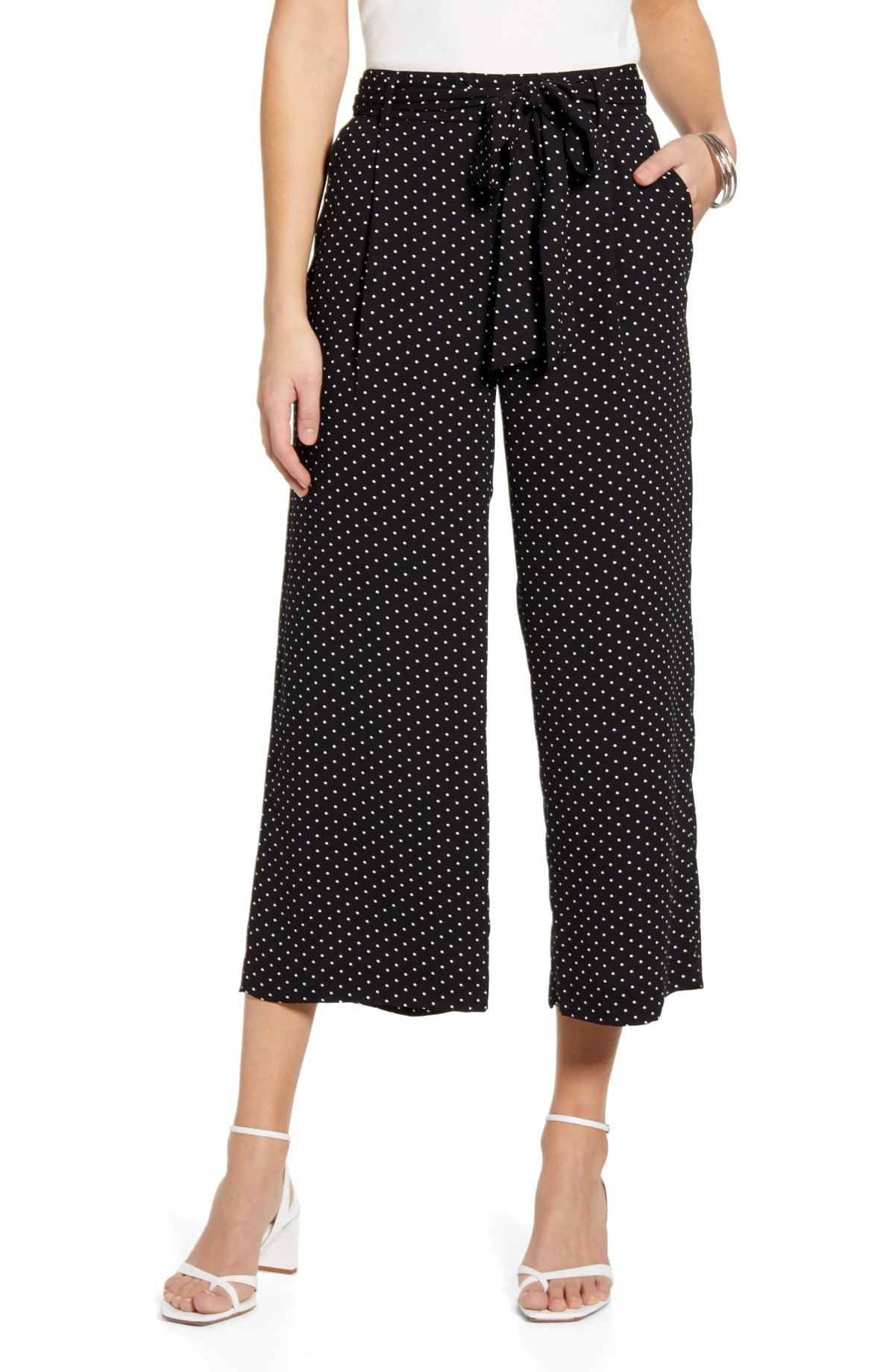 HALOGEN<SUP>®</SUP> Wide Leg Crop Pants, Main, color, BLACK- IVORY LADY DOT