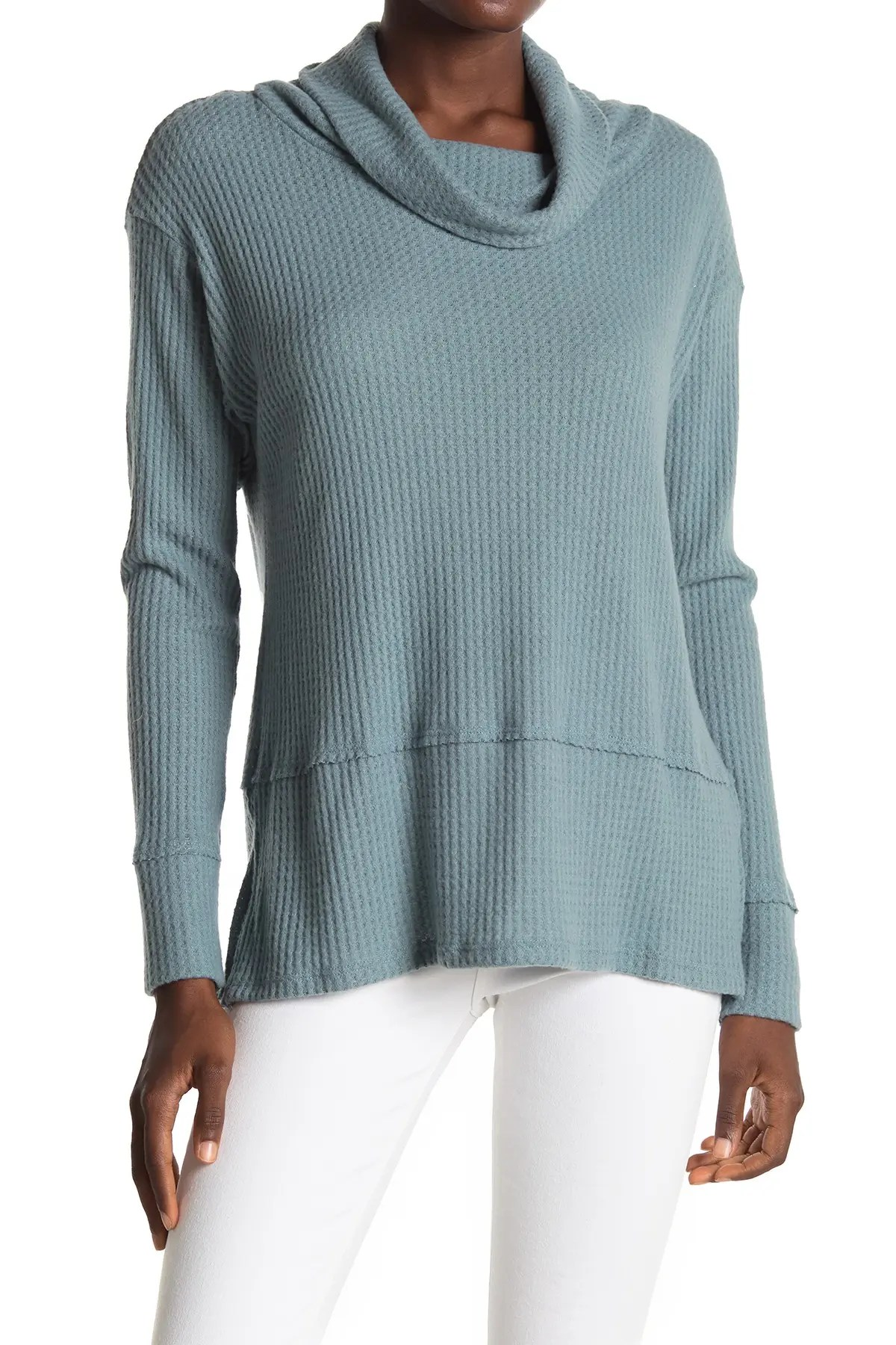 all in favor cowl neck waffle knit tunic sweater nordstrom rack