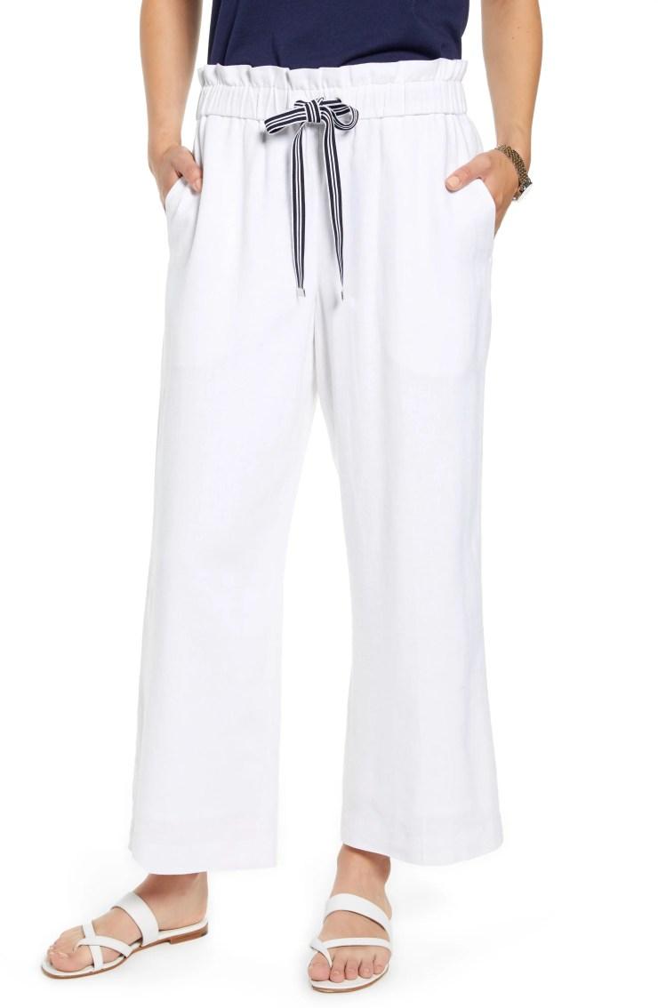 Drawstring Crop Linen Blend Pants, Main, color, WHITE