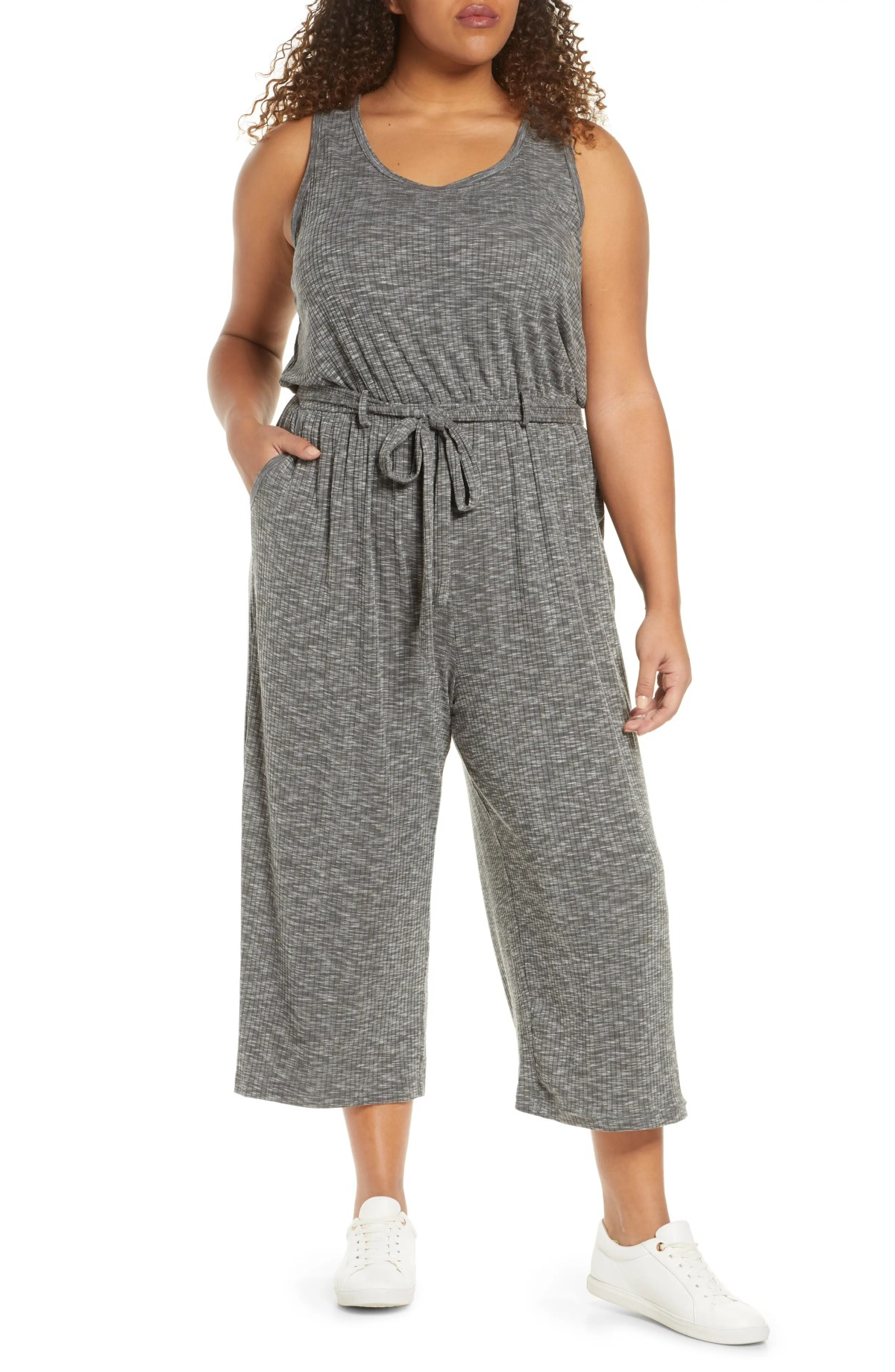 BOBEAU Devin Mélange Ribbed Knit Jumpsuit, Main, color, GRAPHITE