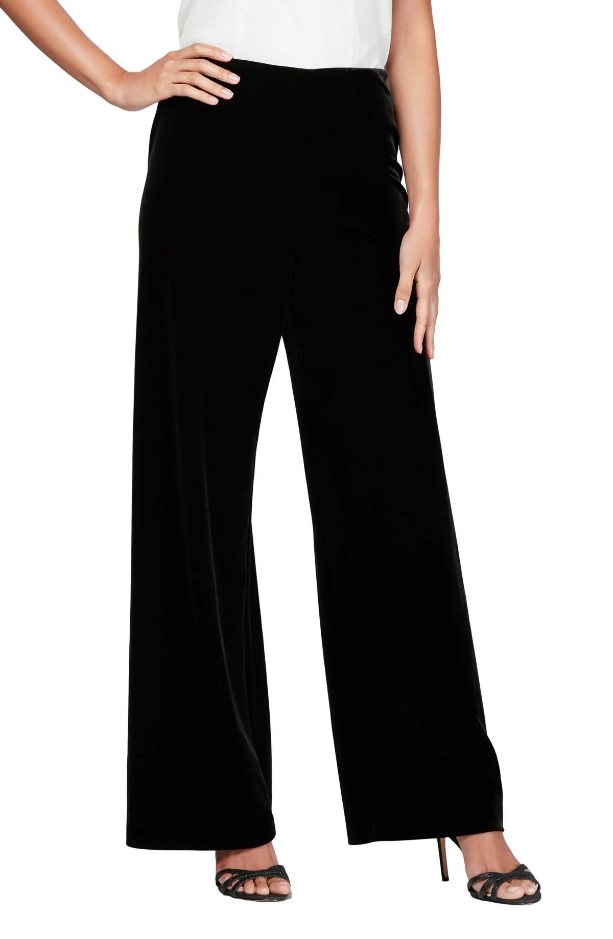 ALEX EVENINGS Flat Front Velvet Pants, Main, color, BLACK