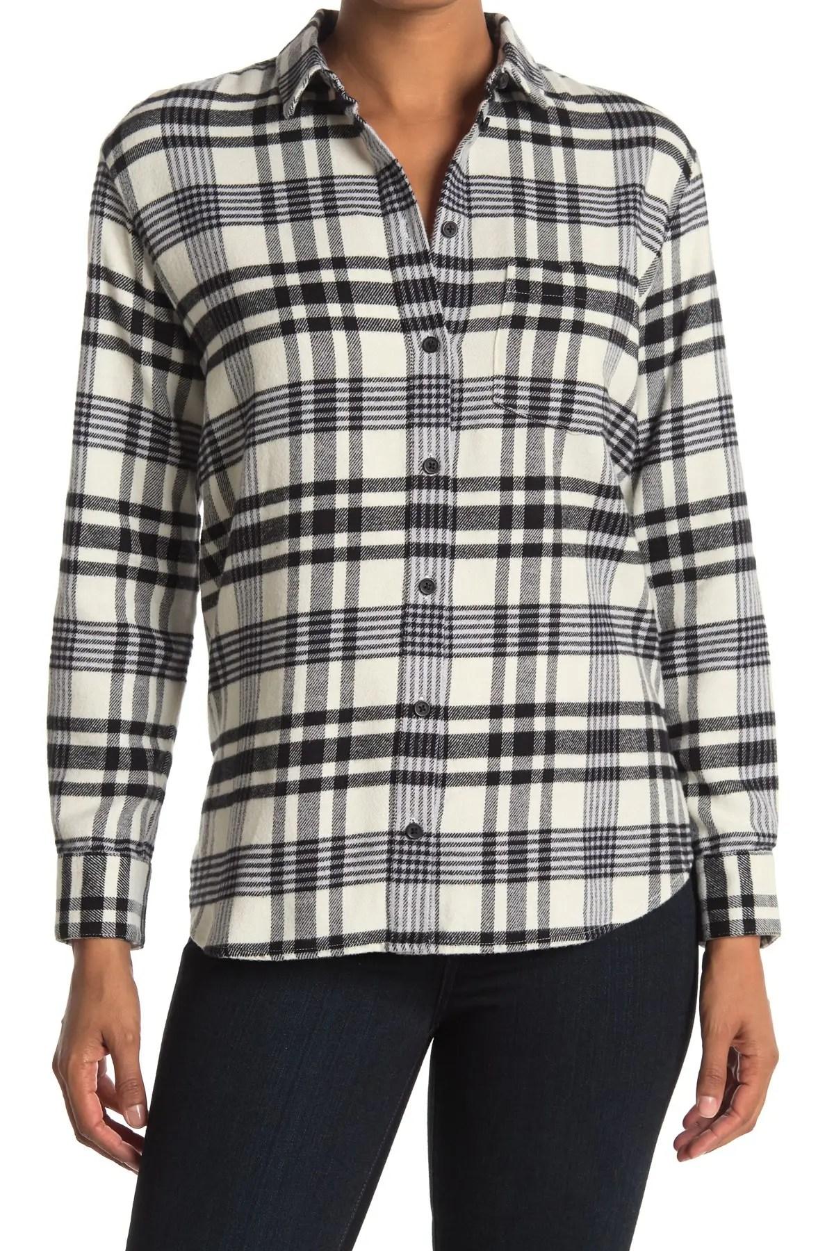 madewell plaid ex boyfriend button up shirt nordstrom rack