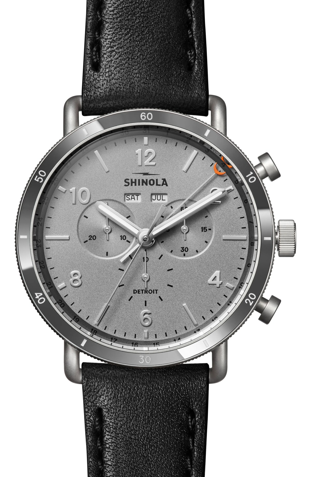 The Canfield Sport Chronograph Leather Strap Watch Set, 45mm, Main, color, BLACK/ GREY