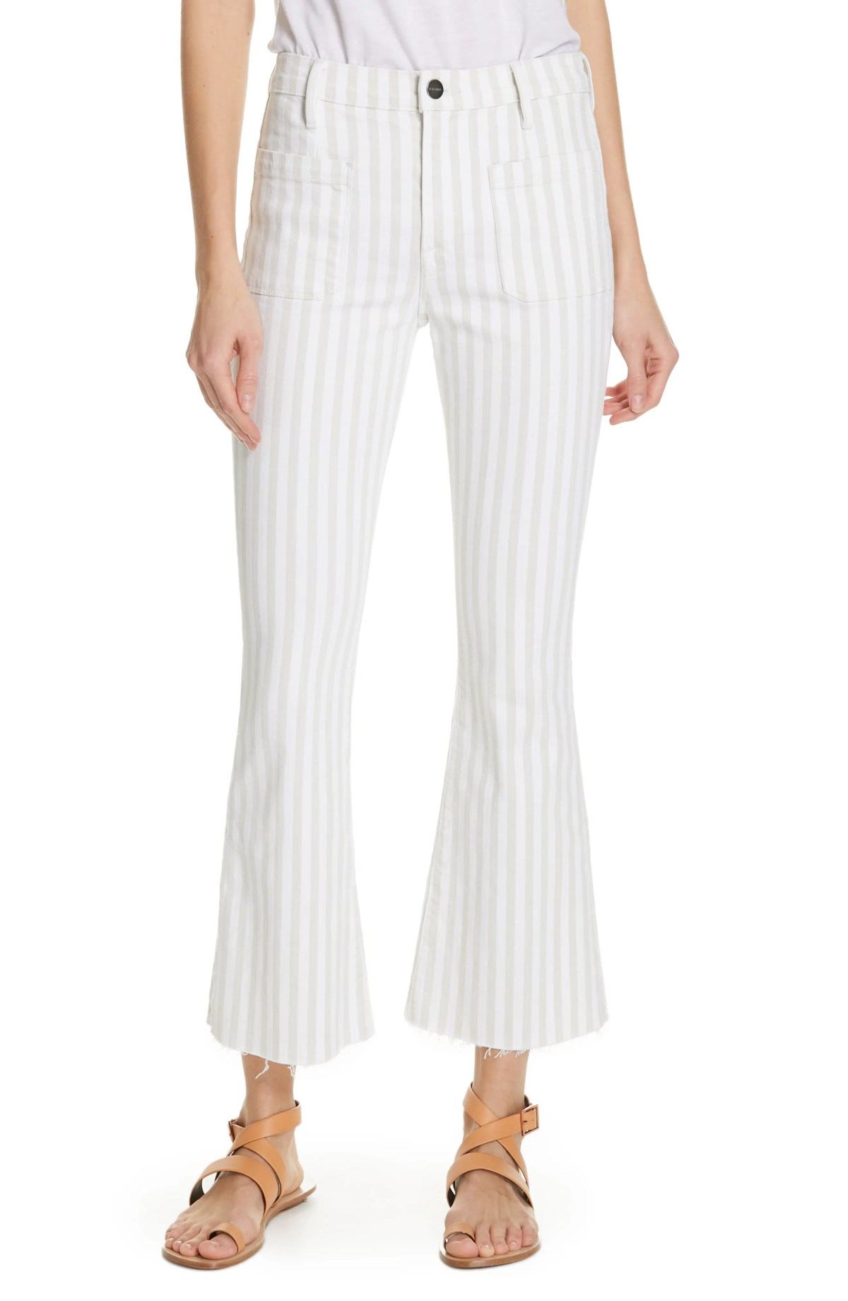 FRAME Le Bardot Stripe Crop Flare Jeans, Main, color, COURTYARD