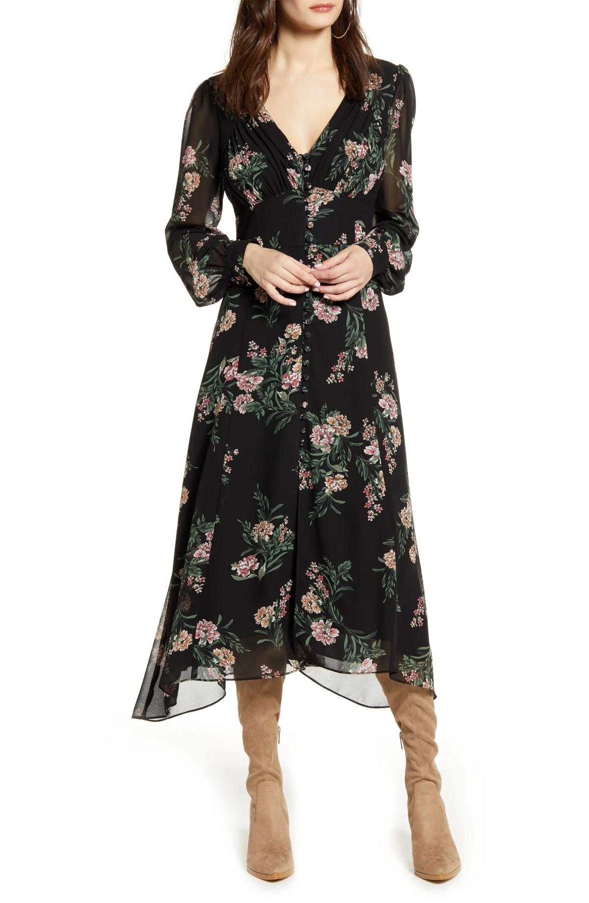 Floral Long Sleeve Midi Dress, Main, color, BLACK/ MAUVE MULTI FLORAL