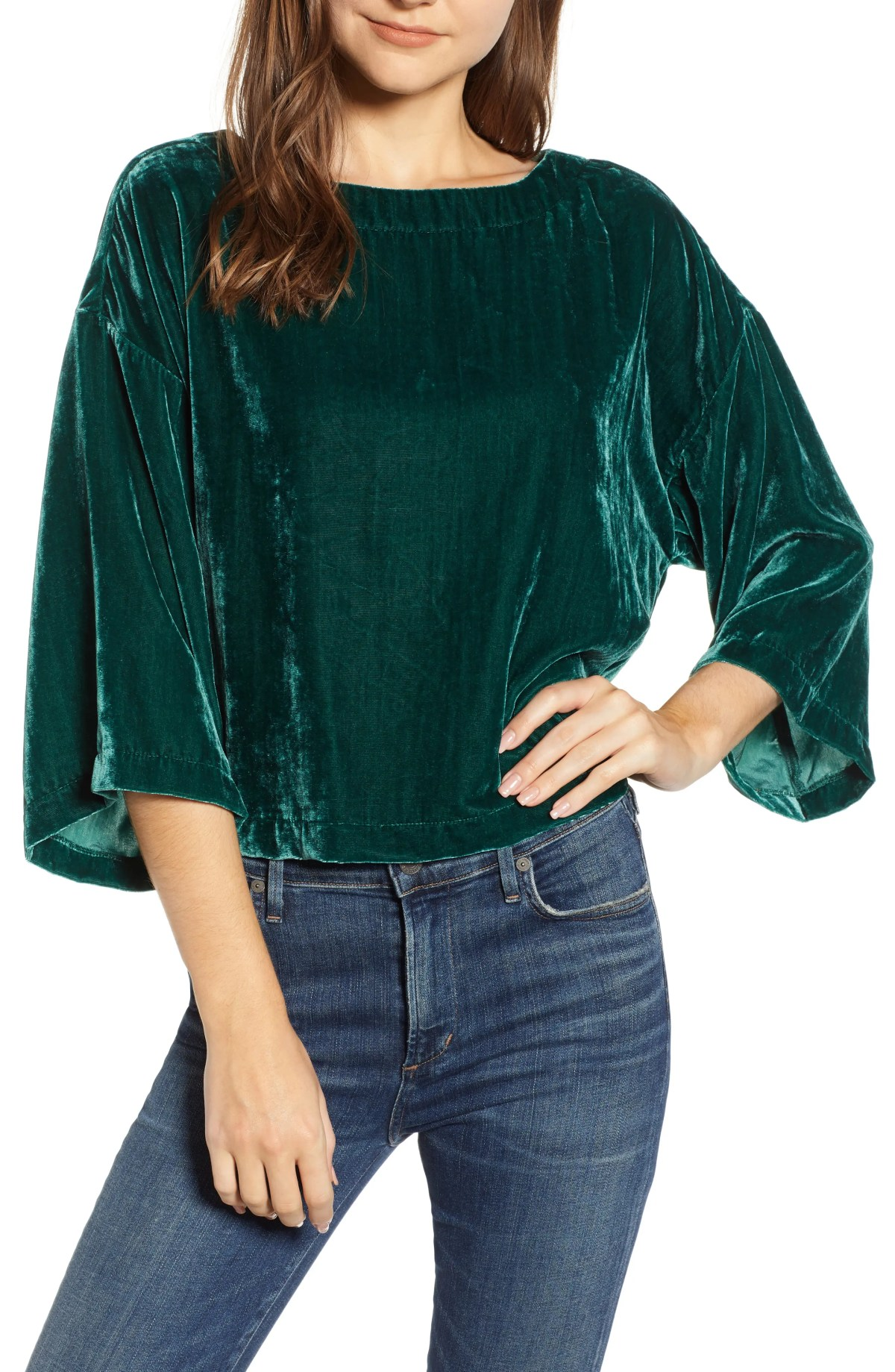 CUPCAKES AND CASHMERE Velvet Dolman Sleeve Top, Main, color, WINTER IVY