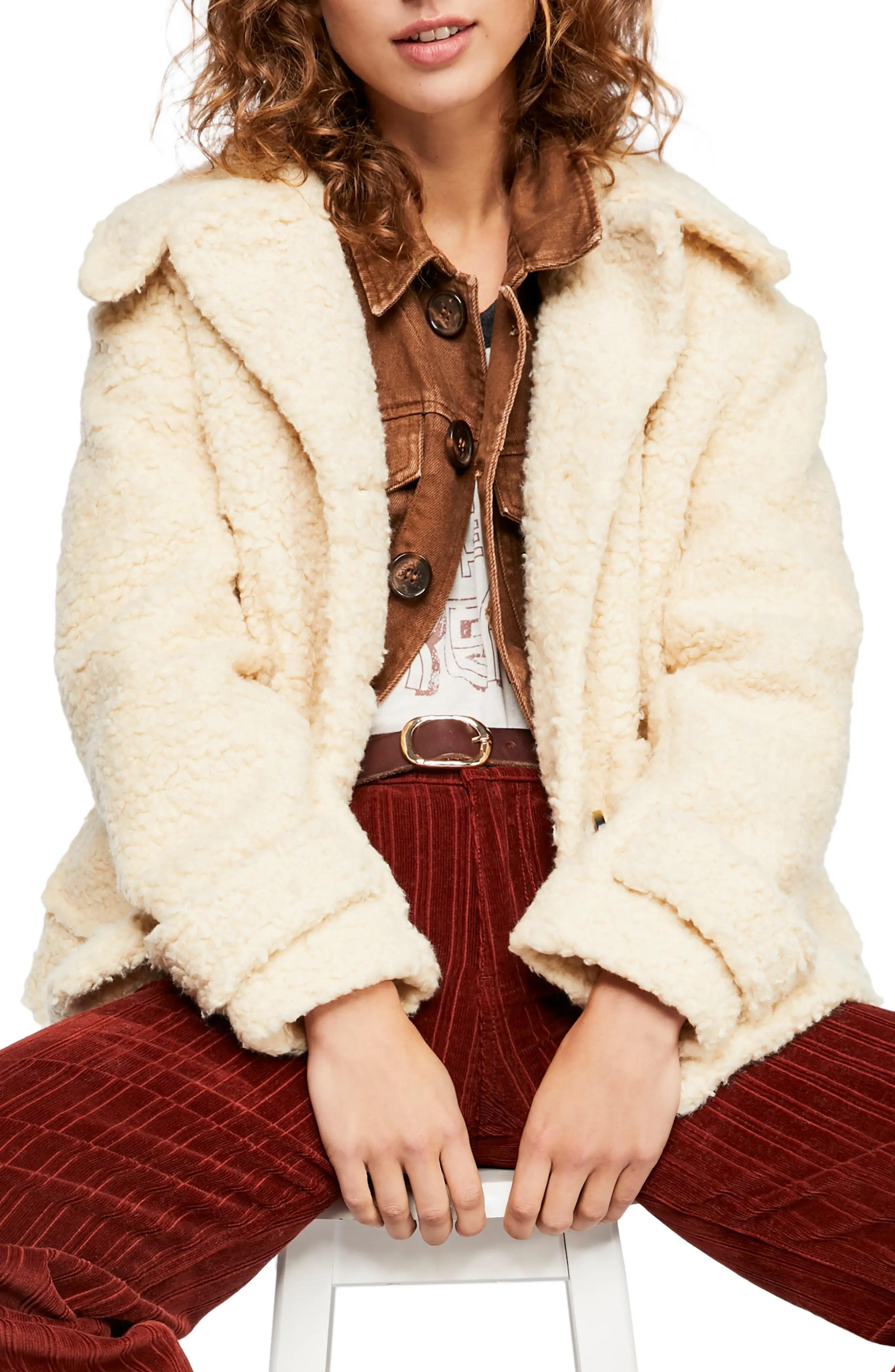 ugg camel teddy coat bela