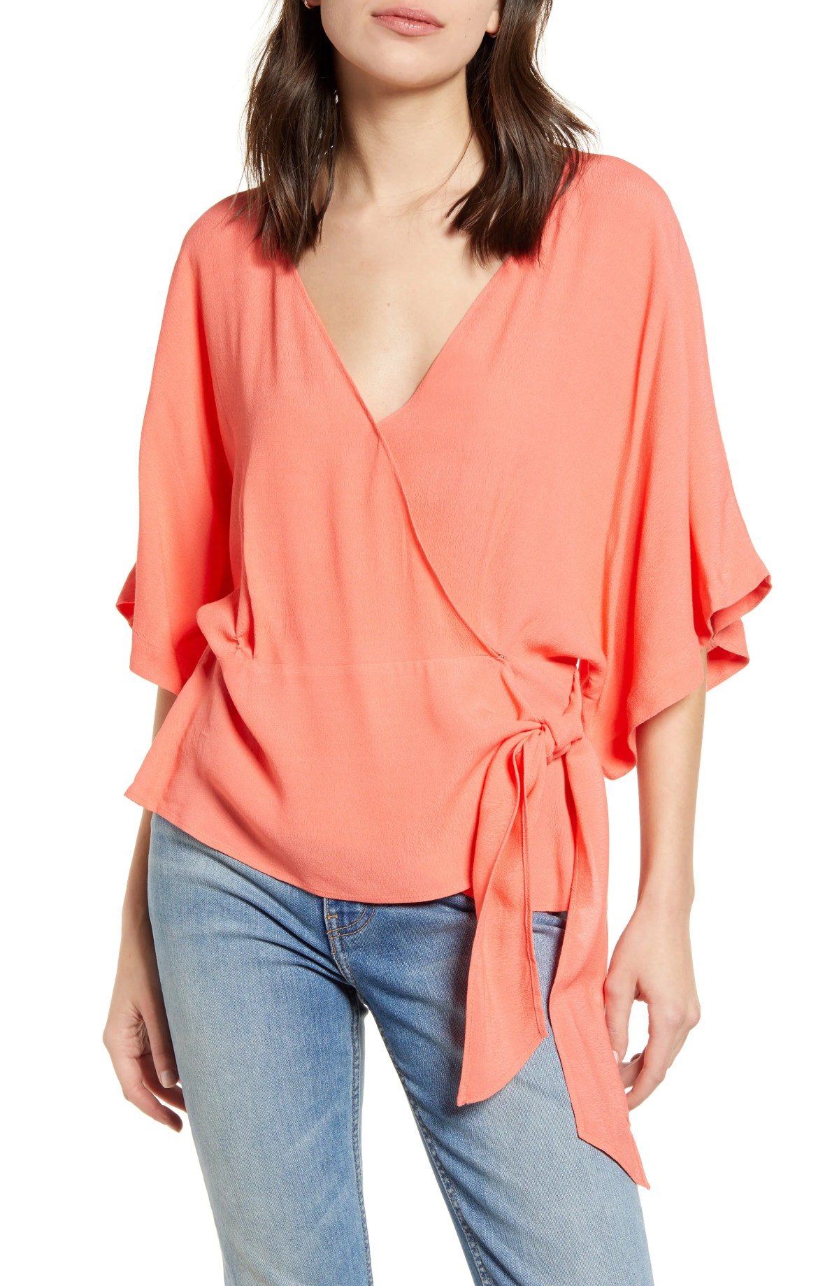 CHELSEA28 Wrap Front Blouse, Main, color, CORAL SUGAR