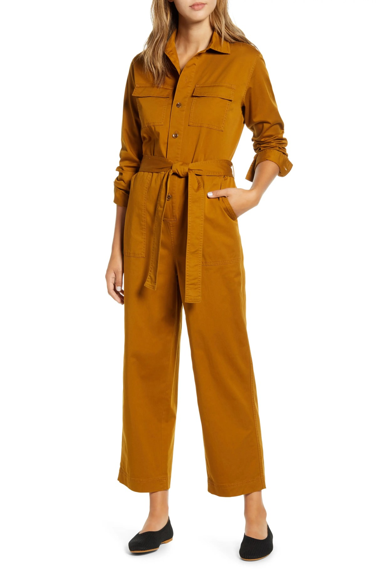 EVERLANE The Modern Utility Jumpsuit, Alternate, color, BRASS