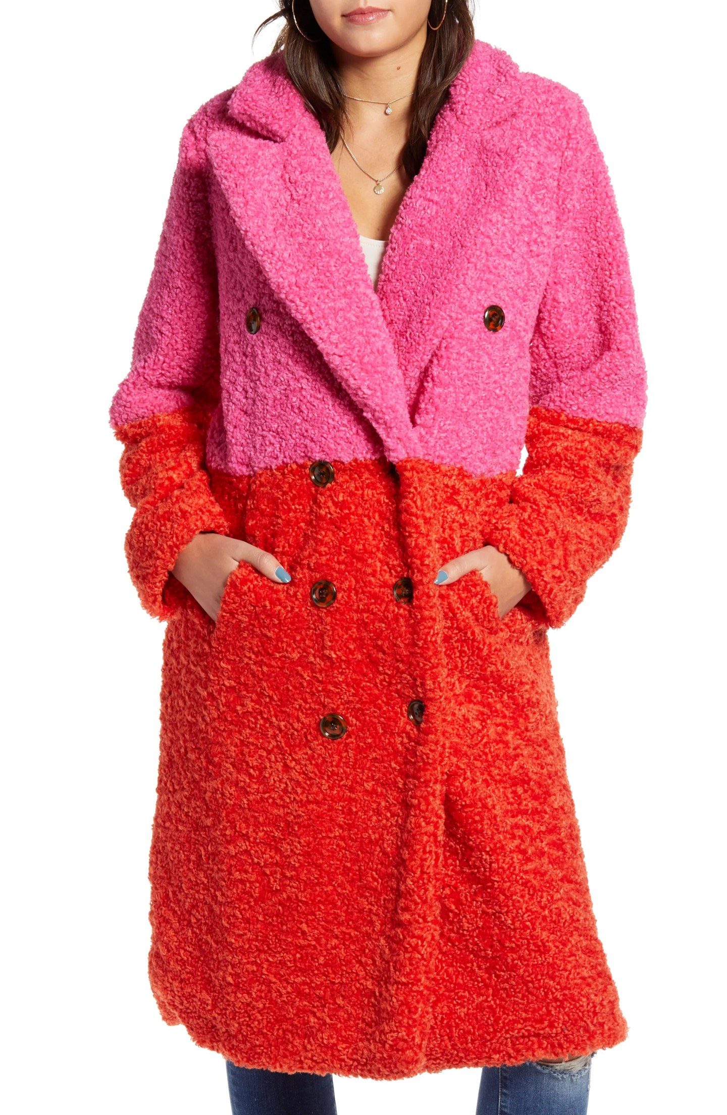 Colorblock Faux Fur Coat from Nordstrom