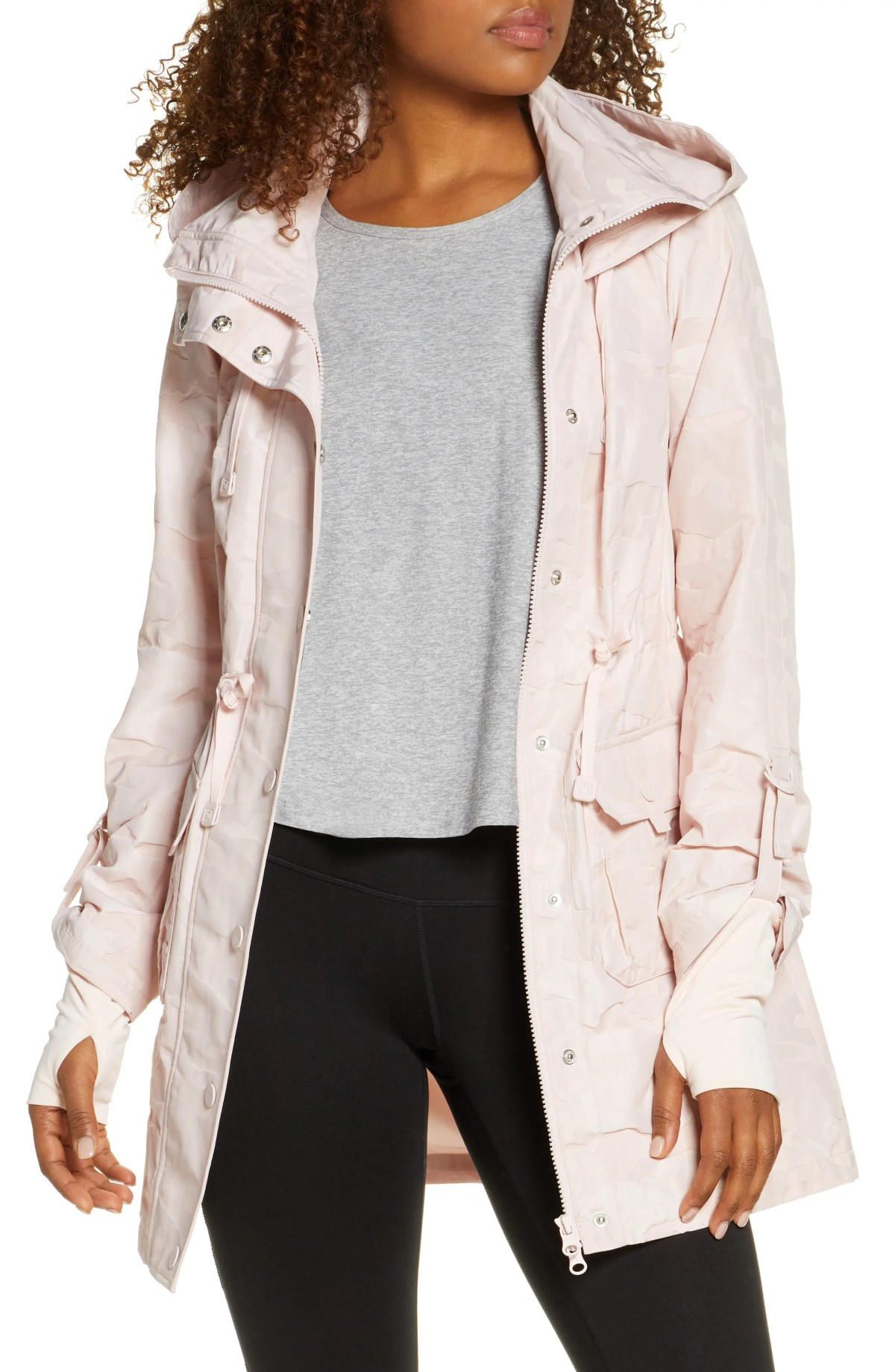 BLANC NOIR Camo Hooded Anorak, Main, color, BLUSH
