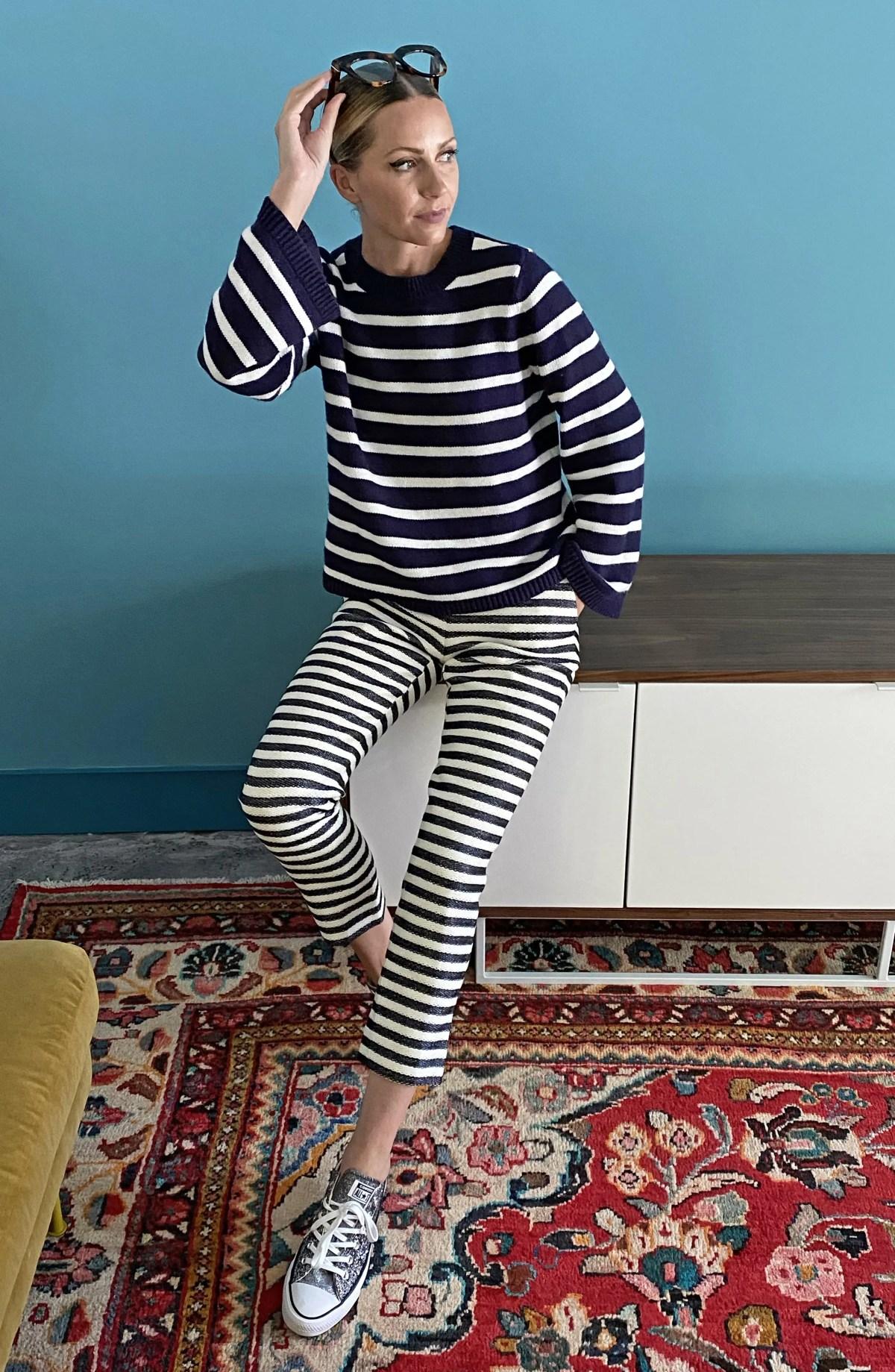 HALOGEN<SUP>®</SUP> x Atlantic-Pacific Stripe Oversize Sweater, Alternate, color, NAVY- WHITE STRIPE