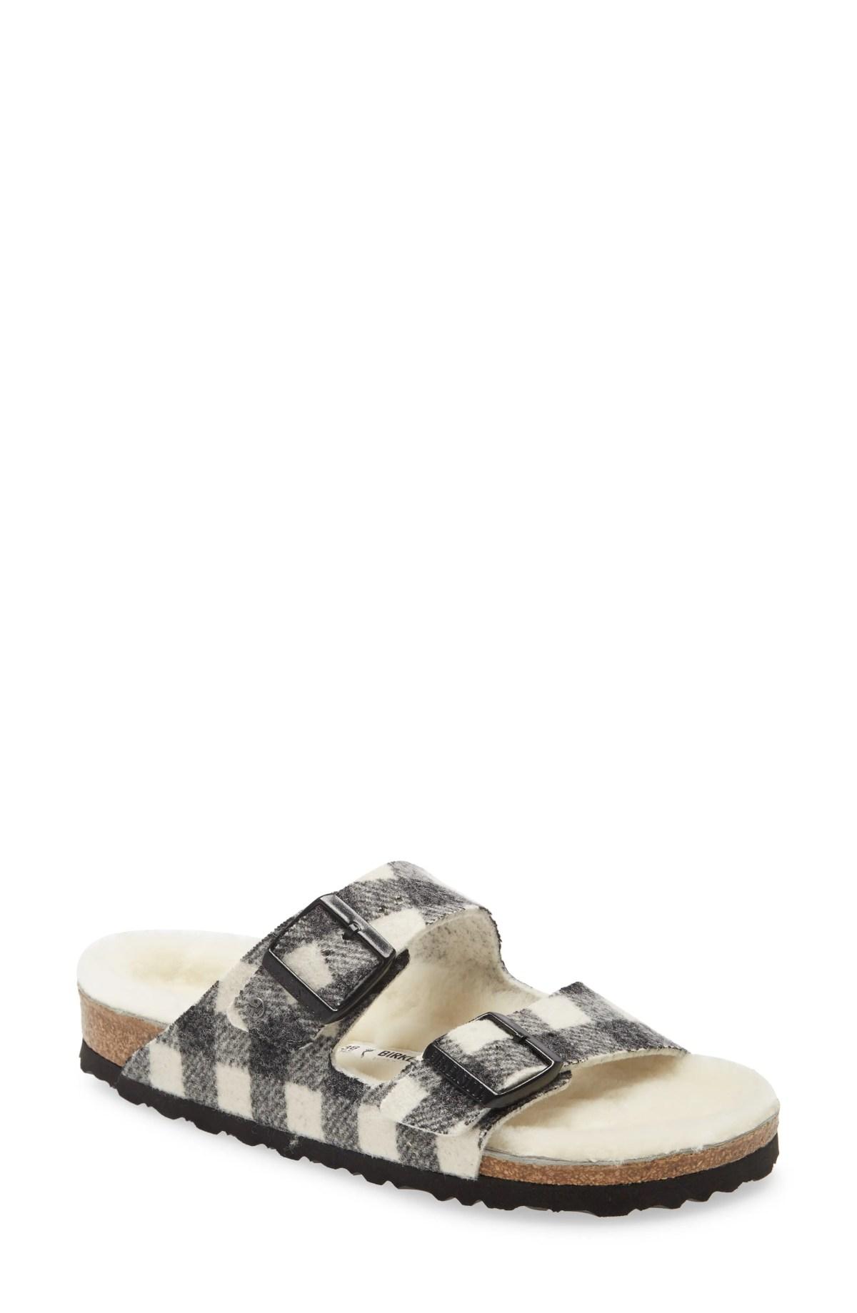 BIRKENSTOCK Arizona Genuine Shearling Slide Sandal, Main, color, PLAID WHITE WOOL