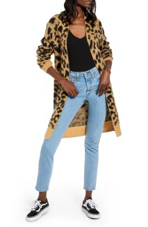 Long Leopard Jacquard Cardigan, Main, color, BEIGE NOUGAT STAMPED LEOPARD