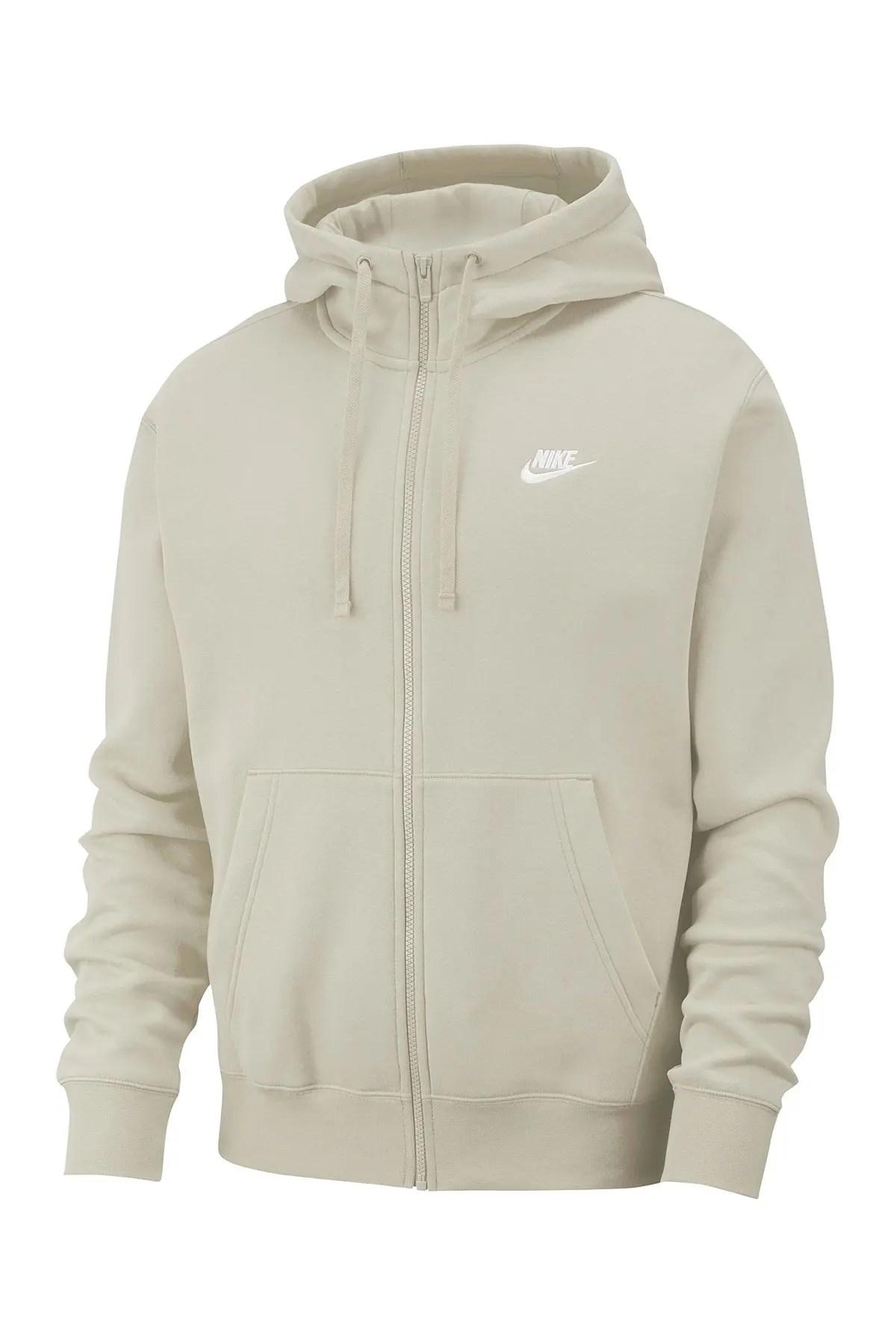 men s club zip up logo hoodie