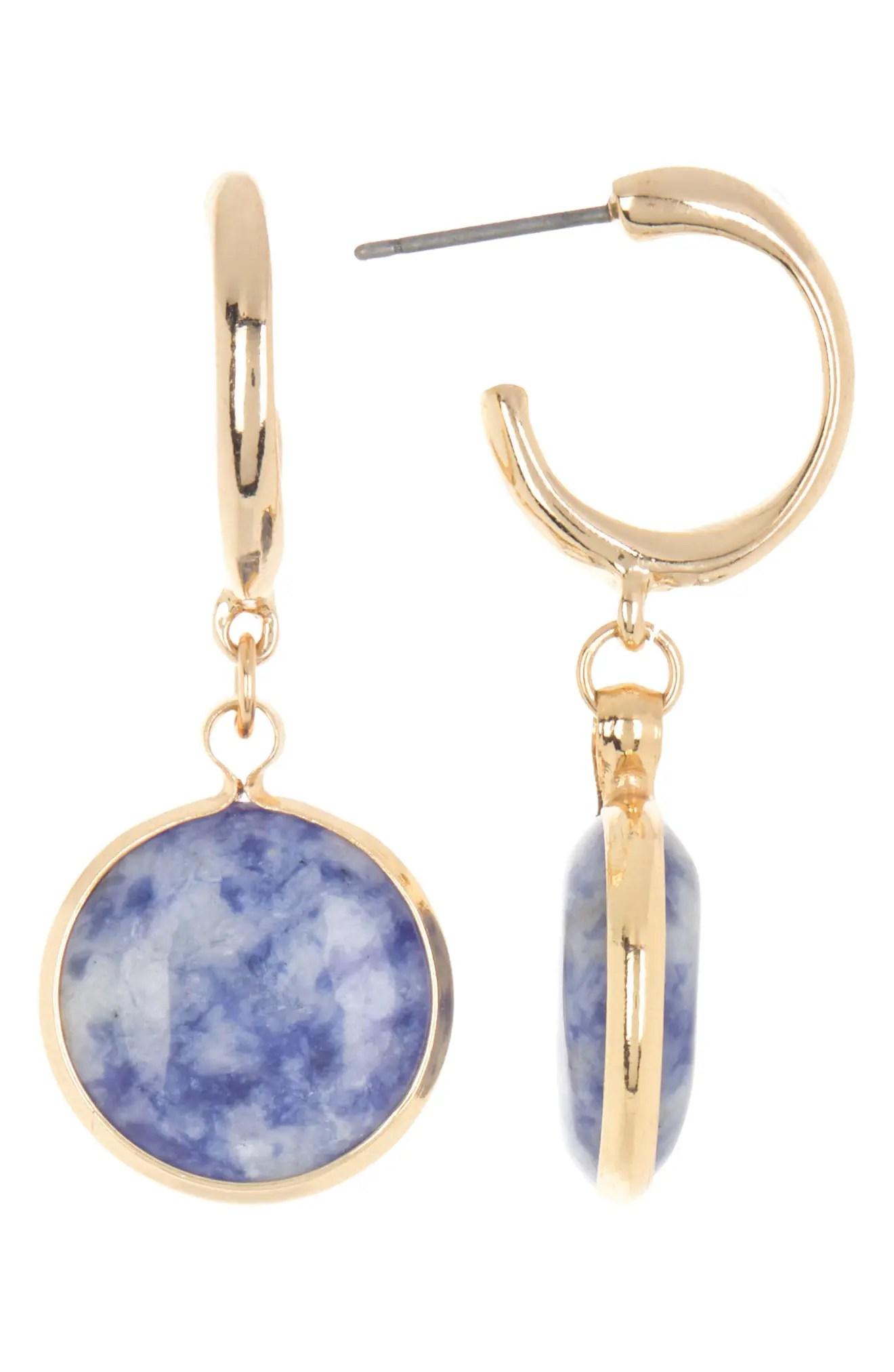 https www nordstromrack com s nordstrom rack huggie with semiprecious stone drop earrings n3594878