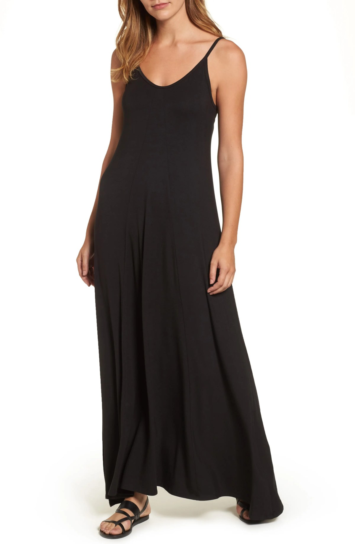 LOVEAPPELLA Maxi Dress, Main, color, BLACK