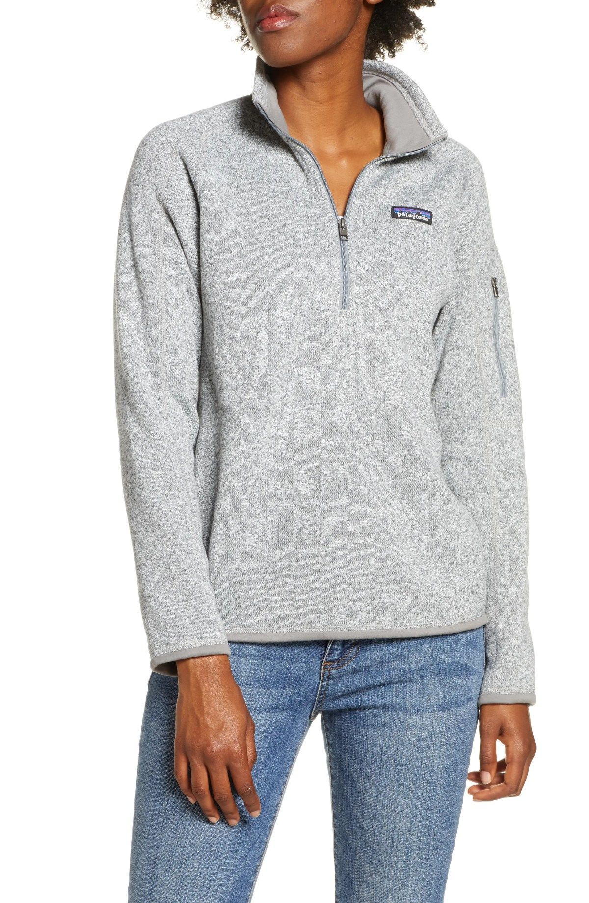 PATAGONIA Better Sweater Quarter Zip Performance Jacket, Main, color, BIRCH WHITE
