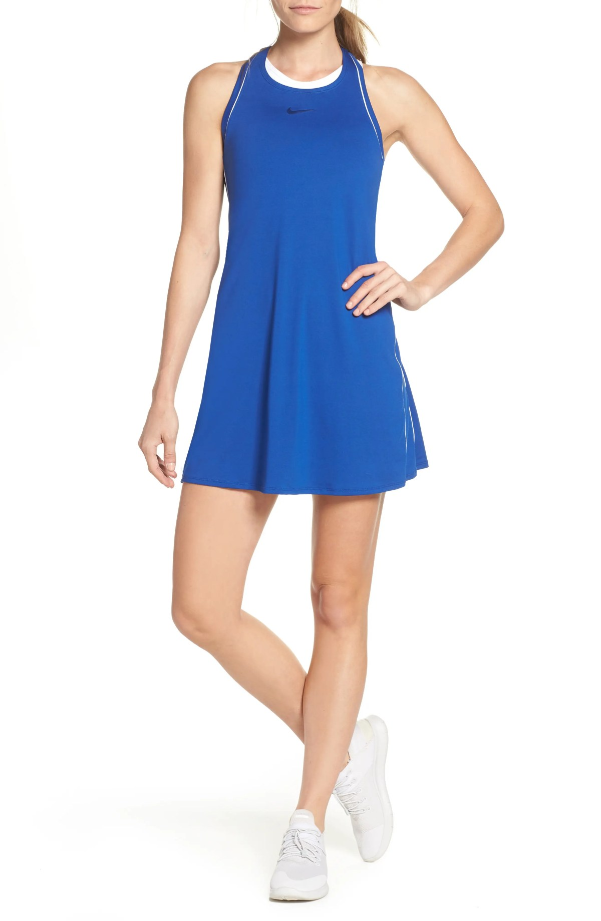 Court Dry Tennis Dress, Main, color, INDIGO/ WHITE/ WHITE