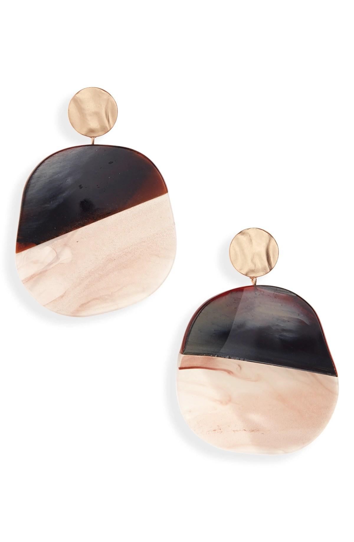 Large Resin Circle Drop Earrings, Main, color, BROWN MULTI- GOLD