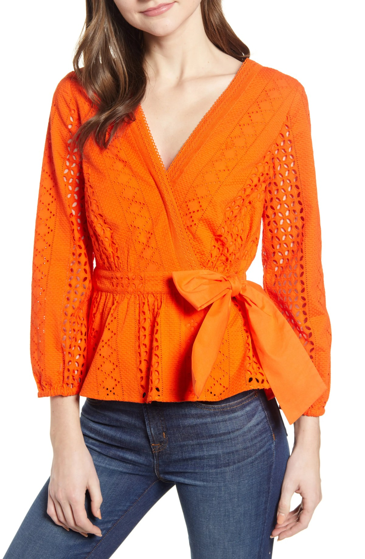 Eyelet Wrap Top, Main, color, RESORT ORANGE