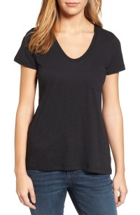 Rounded V-Neck Tee, Main, color, BLACK