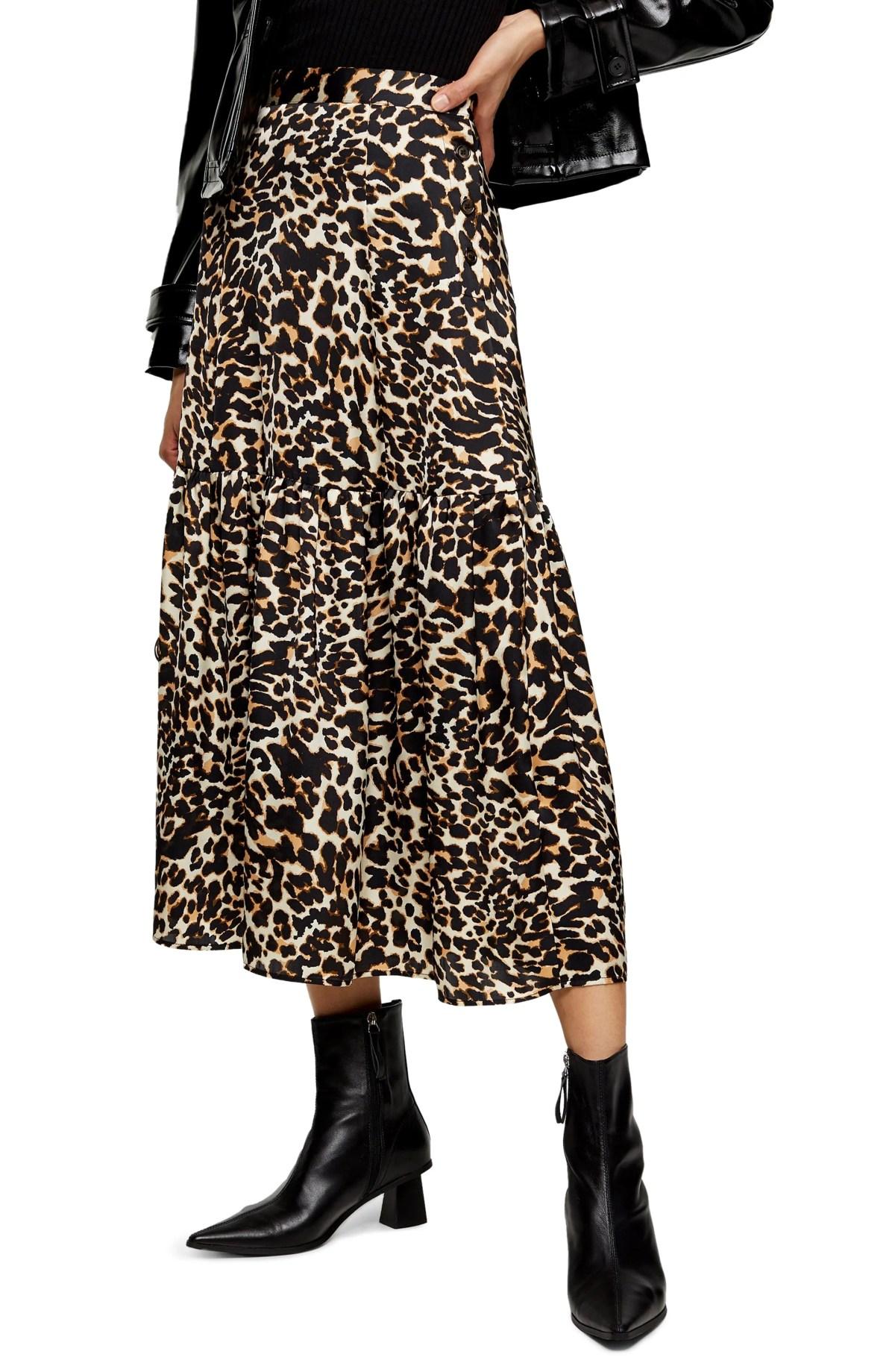 TOPSHOP Leopard Print Tiered Midi Skirt, Main, color, LEOPARD